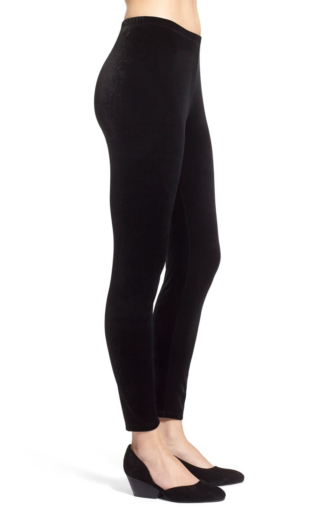 Alternate Image 4  - Eileen Fisher Stretch Velvet Leggings (Regular & Petite)