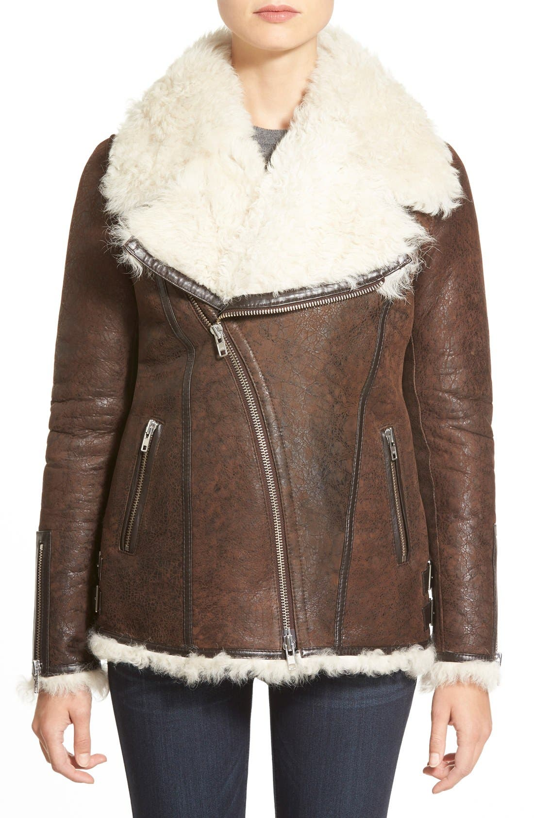 Main Image - LAMARQUE Genuine Shearling Aviator Jacket