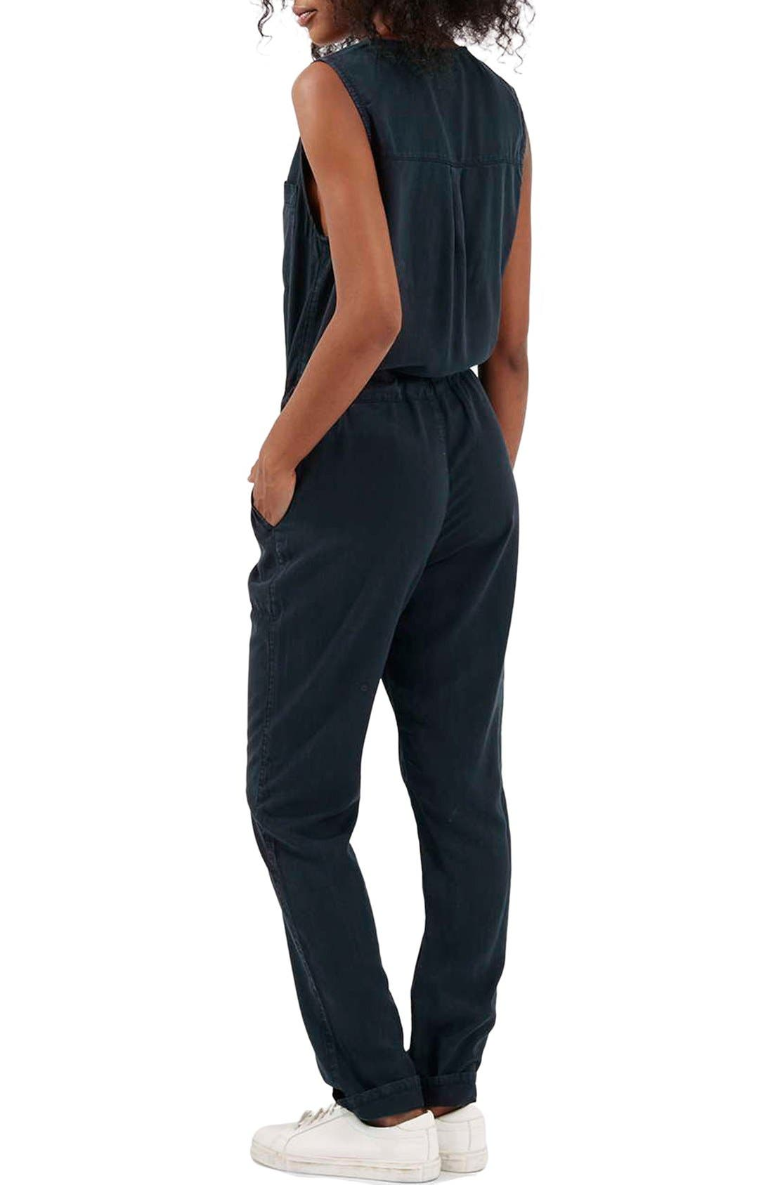 Alternate Image 2  - Topshop Sleeveless Zip Front Jumpsuit