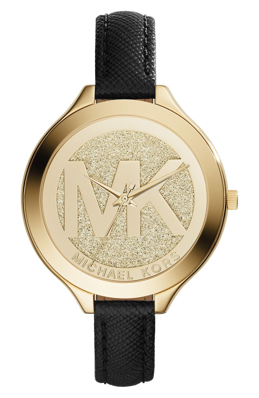 Main Image - MICHAEL Michael Kors'Slim Runway' Leather Strap Watch,42mm