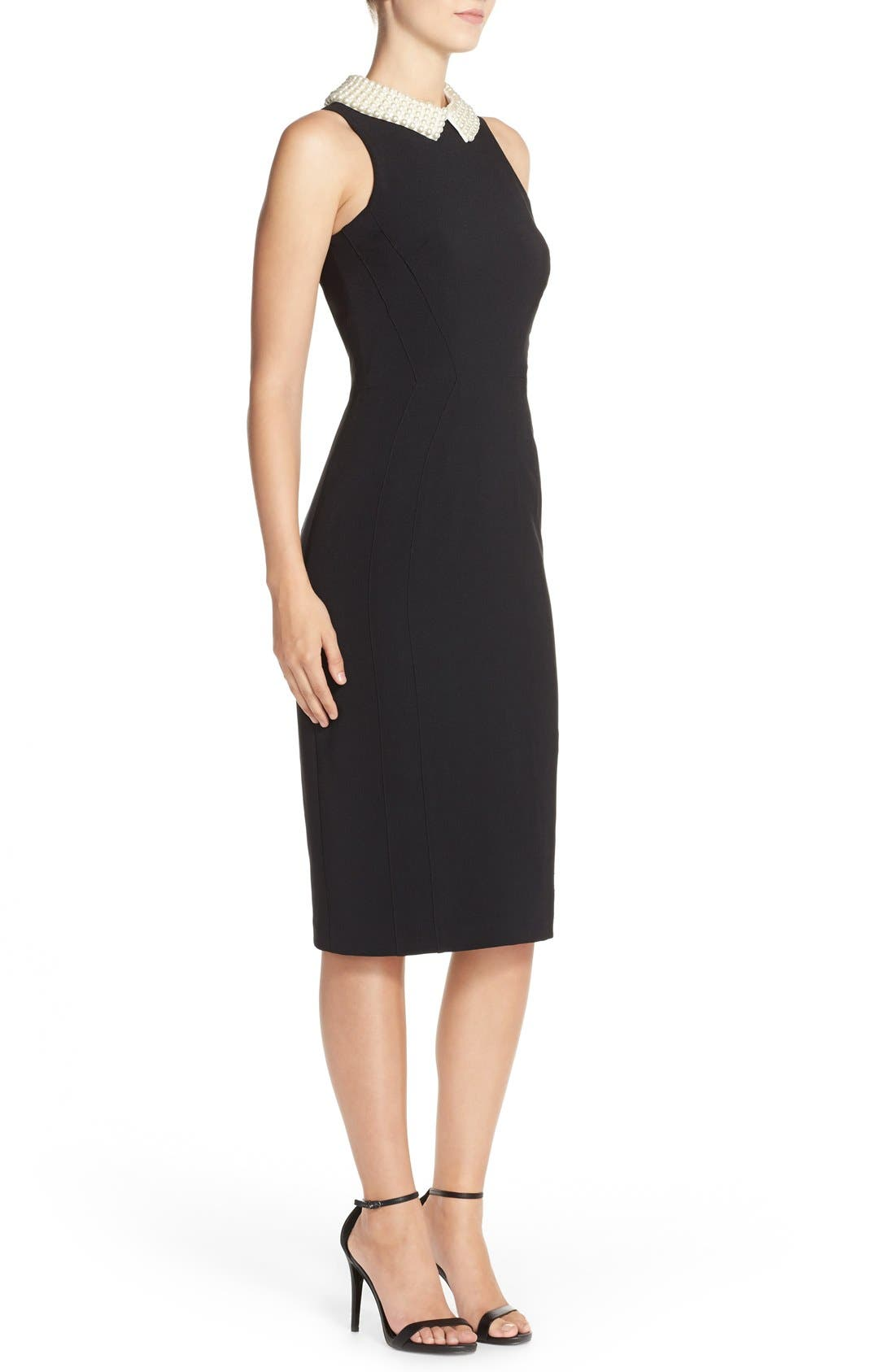 Alternate Image 3  - Maggy London Pearl Collar Crepe Sheath Dress (Petite)