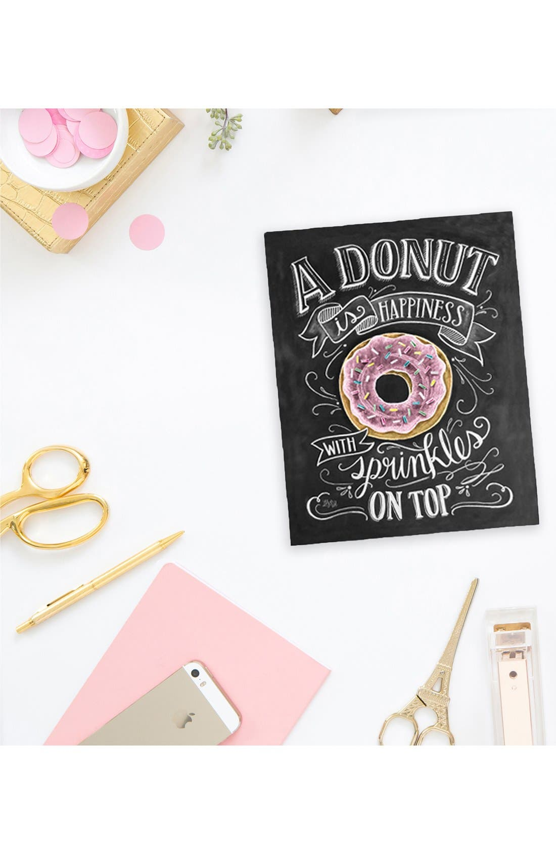 Alternate Image 2  - Lily & Val 'A Donut is Happiness' Chalkboard Print Wall Art