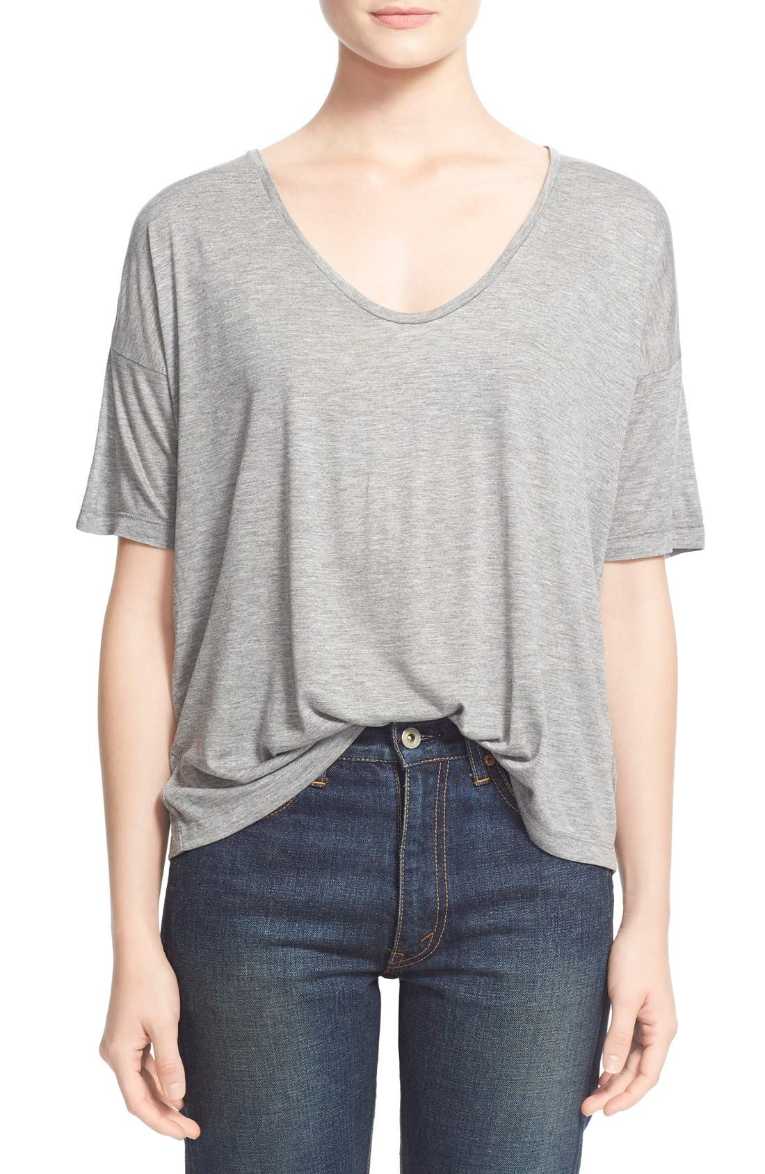 Main Image - T by Alexander Wang Short Sleeve Low Neck Tee