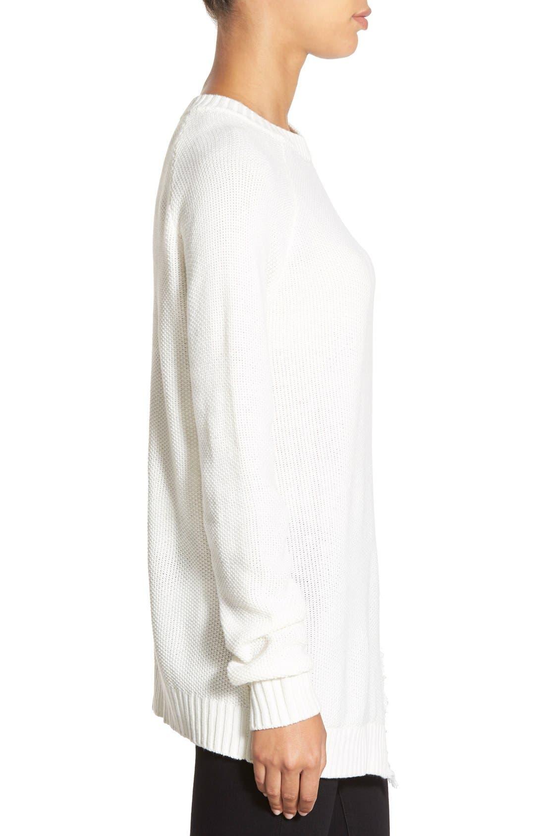 Alternate Image 3  - Ivanka Trump Fringe Trim Asymmetrical Sweater