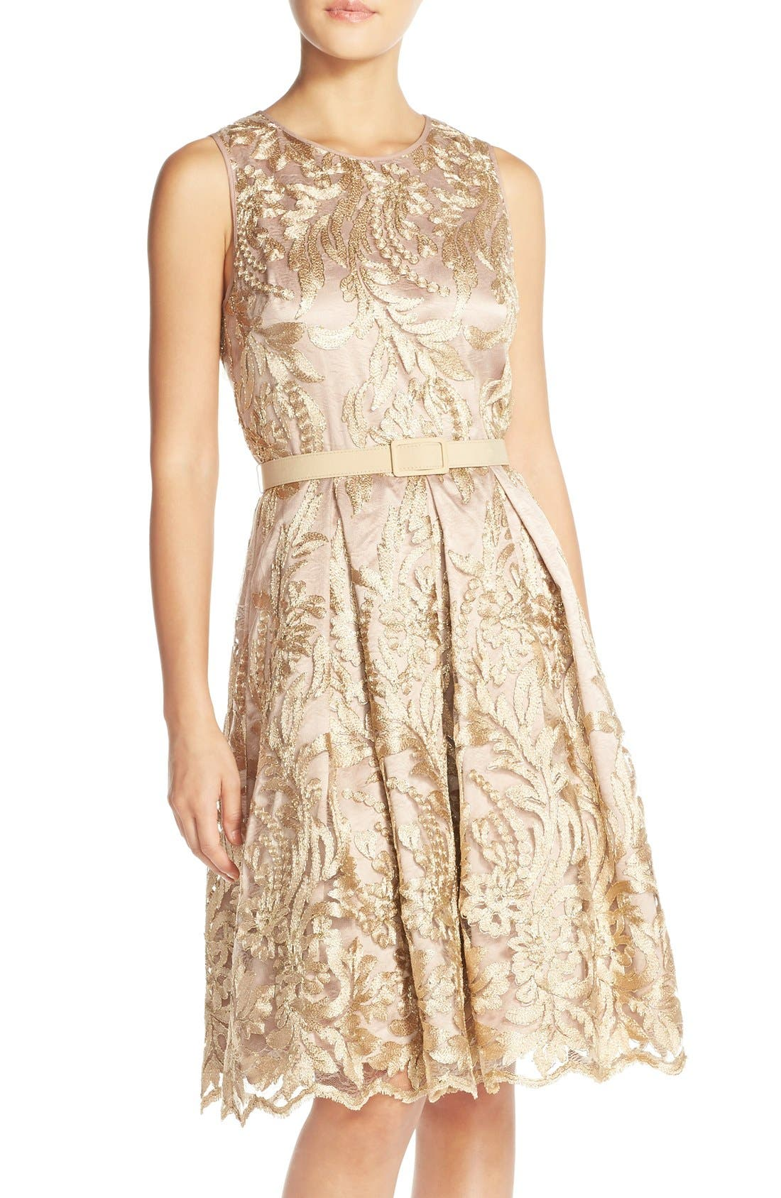 Main Image - Eliza J Belted Embroidered Charmeuse Fit & Flare Dress