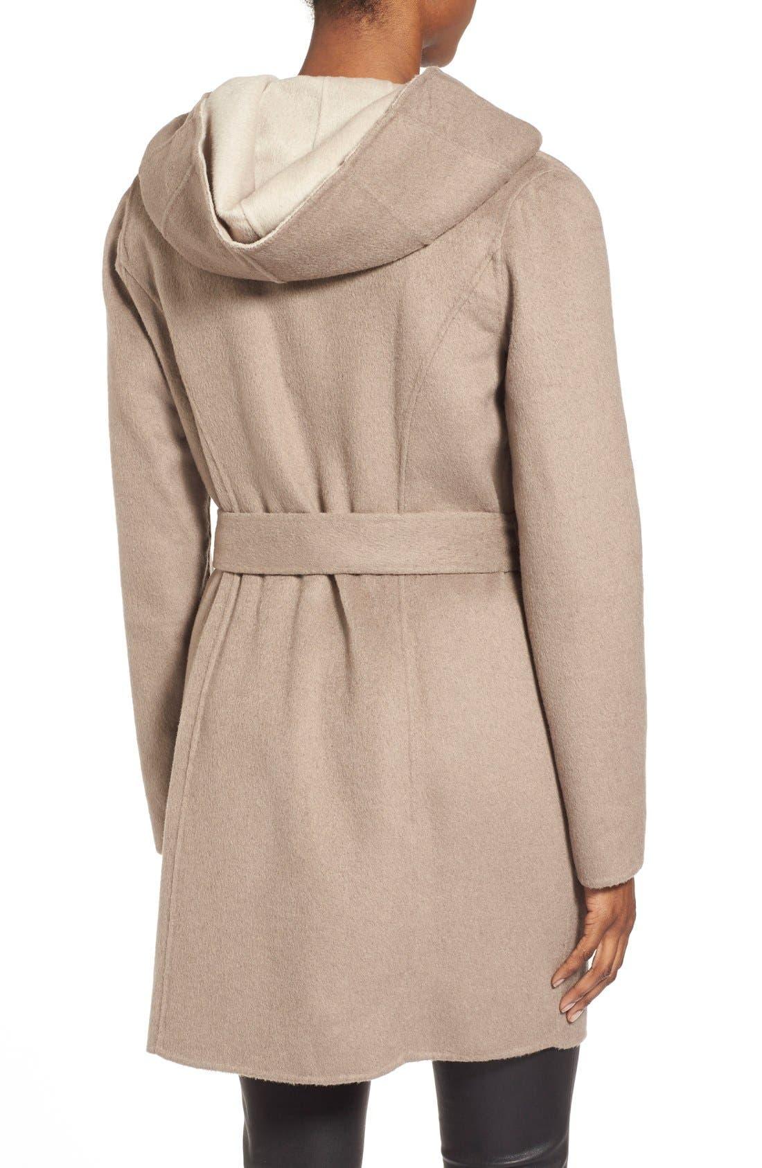 Alternate Image 2  - ElieTahari'Mala' Hooded Wool BlendWrap Coat