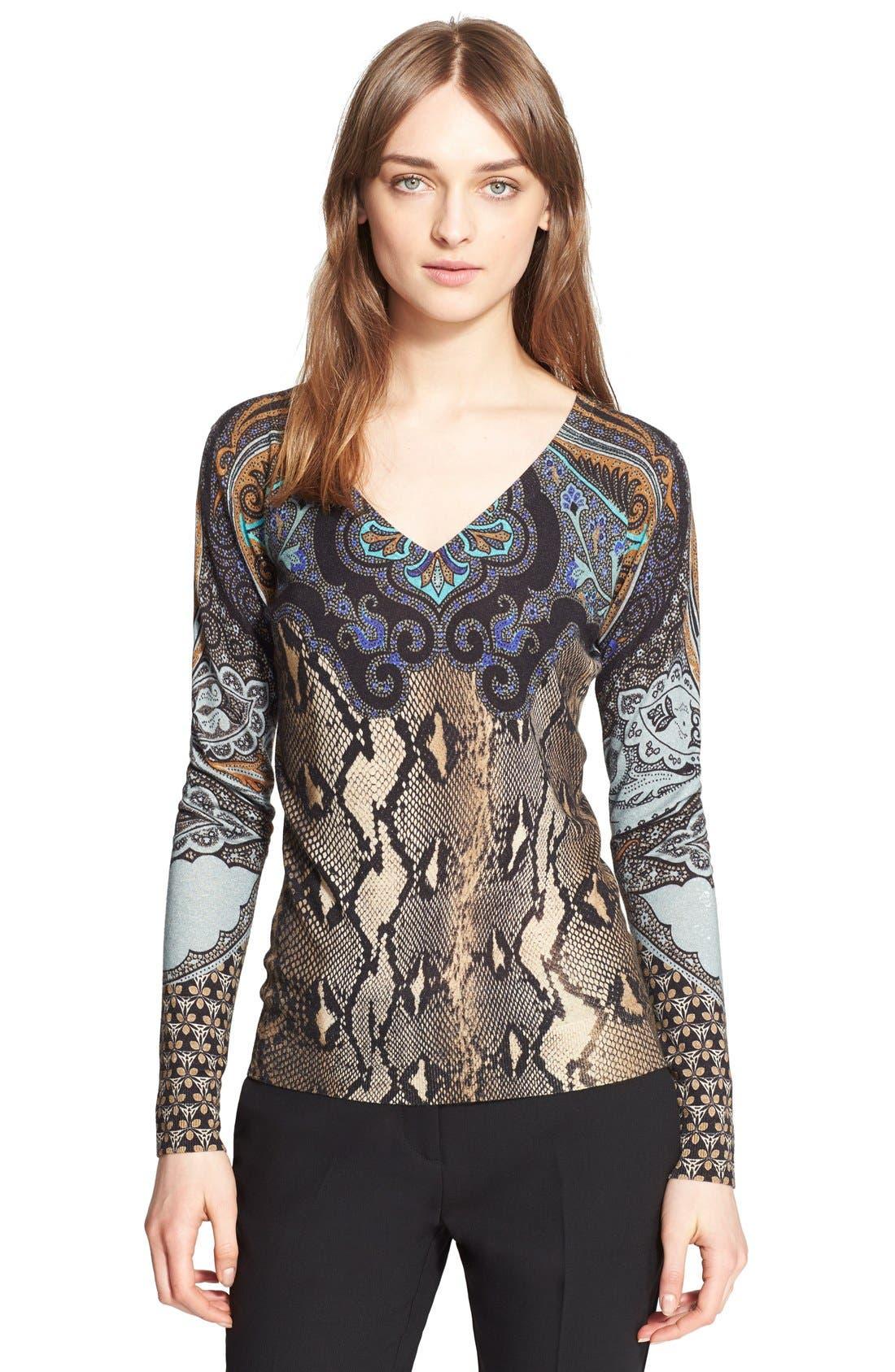 Main Image - Etro Python Print Silk & Cashmere Sweater