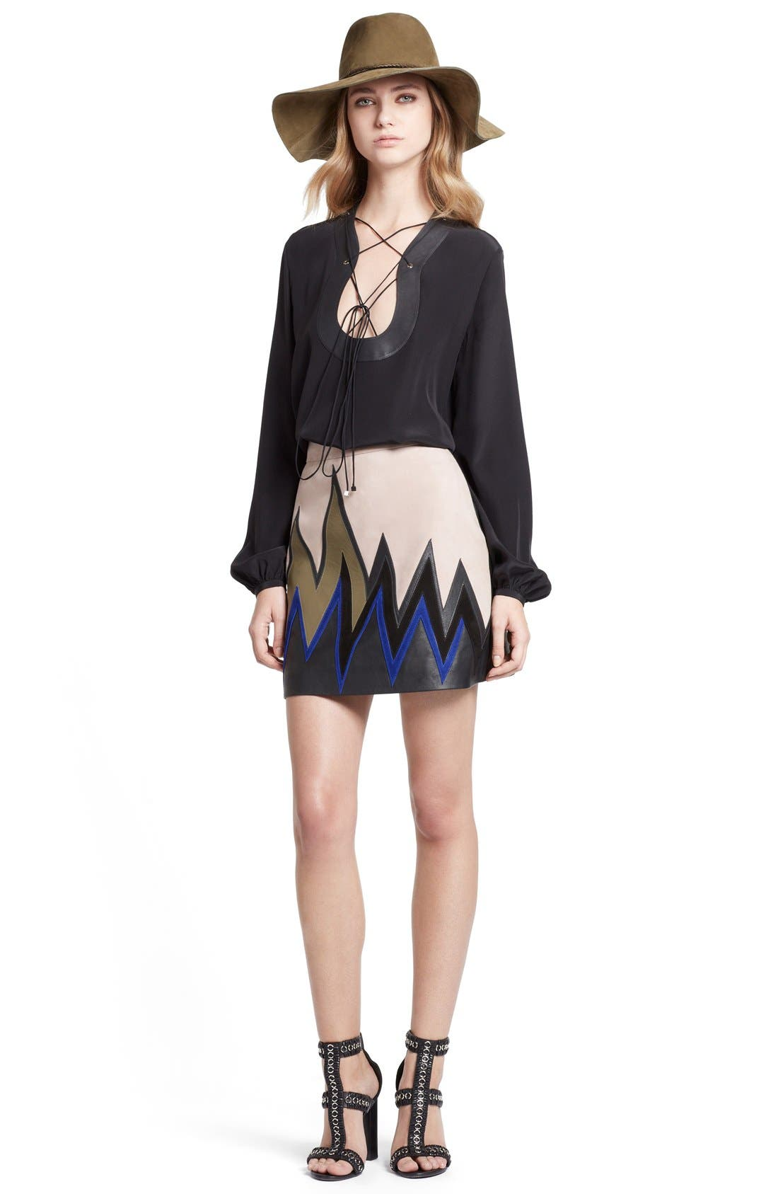 Alternate Image 4  - Emilio Pucci Leather Trim Lace-Up Neck Silk Shirt