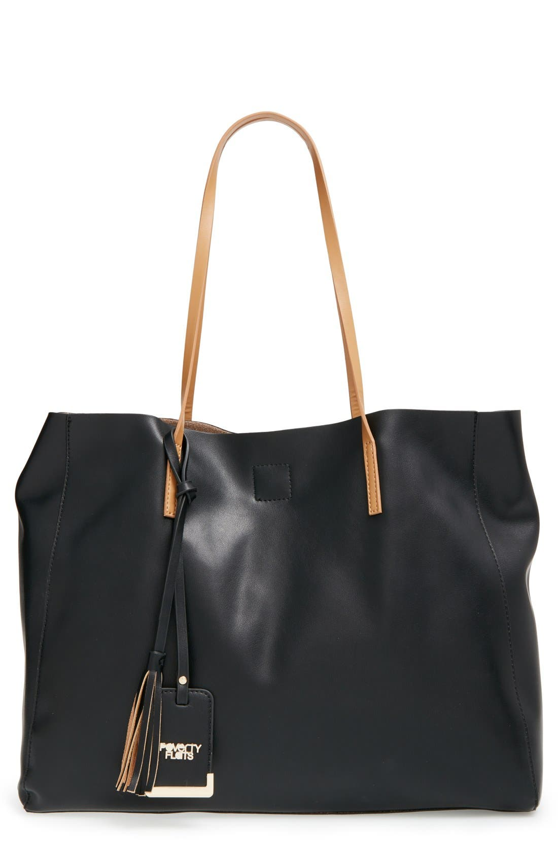 Alternate Image 1 Selected - POVERTY FLATS by rian 'Colorful' Faux Leather Shopper