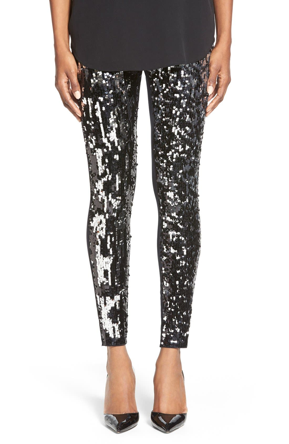 Alternate Image 1 Selected - Nordstrom Sequin Front Leggings