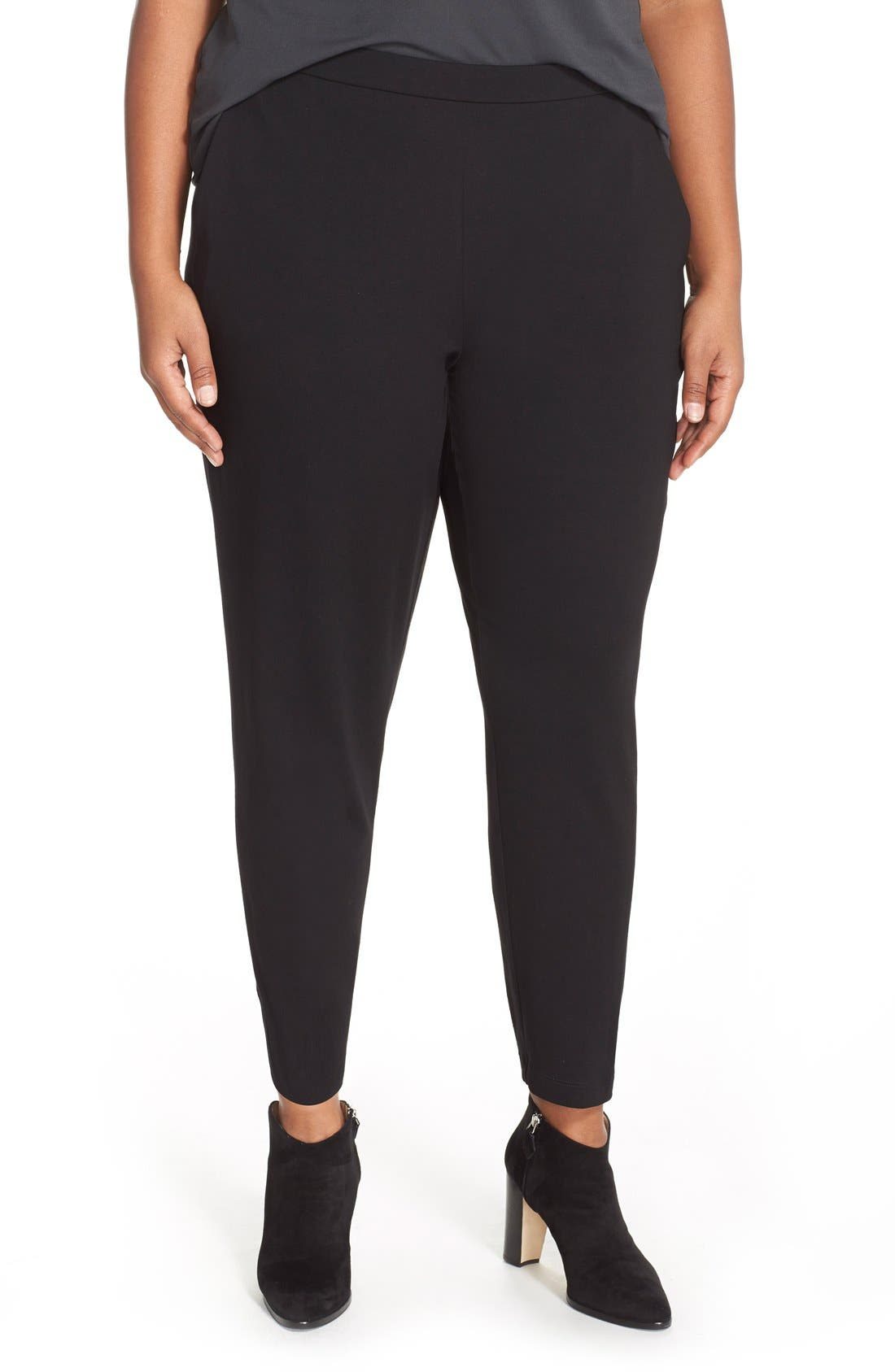 Alternate Image 1 Selected - Eileen Fisher Slim Jersey Ankle Pants (Plus Size)