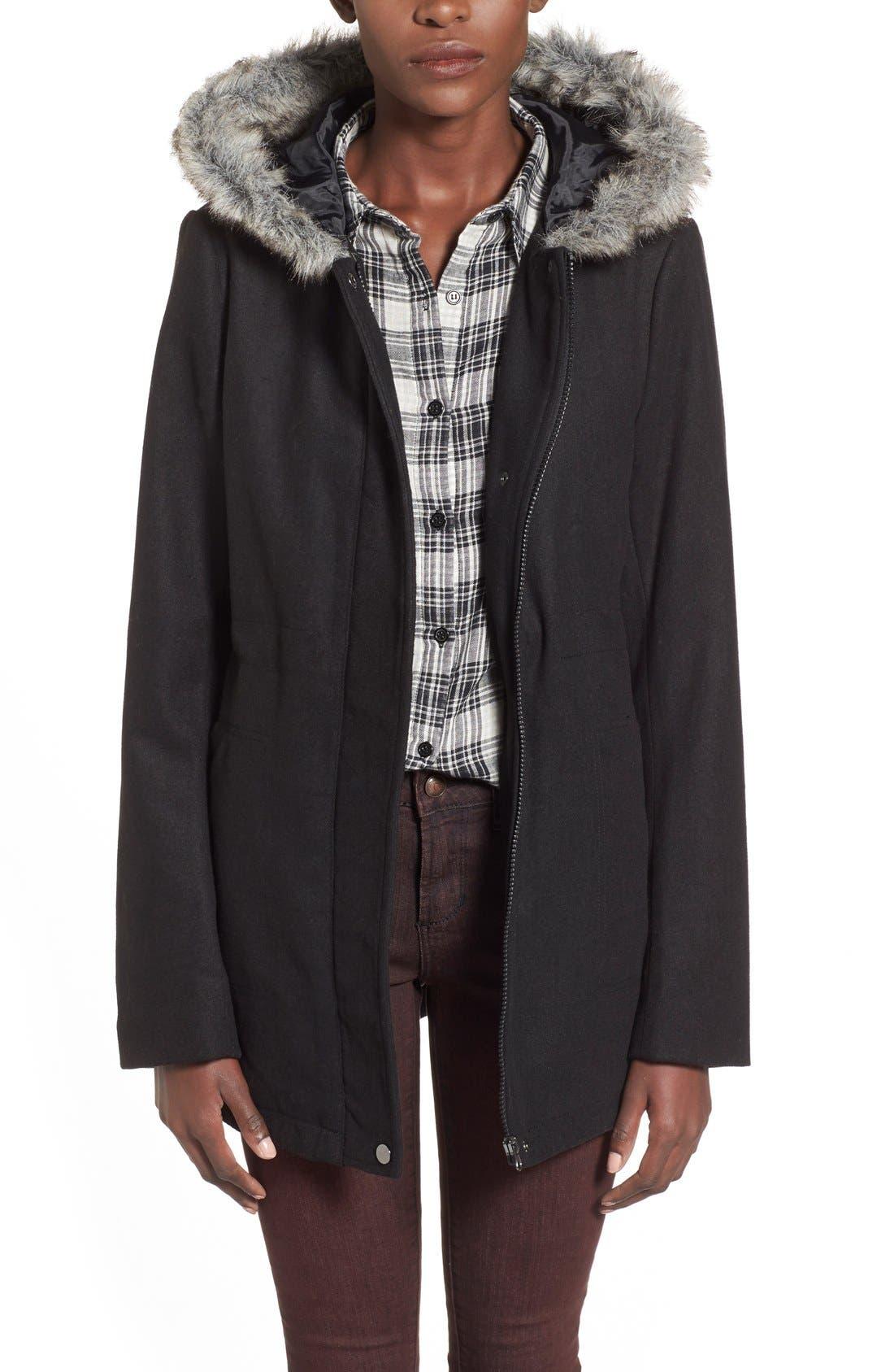 KRUSH Faux Fur Trim Hooded Coat