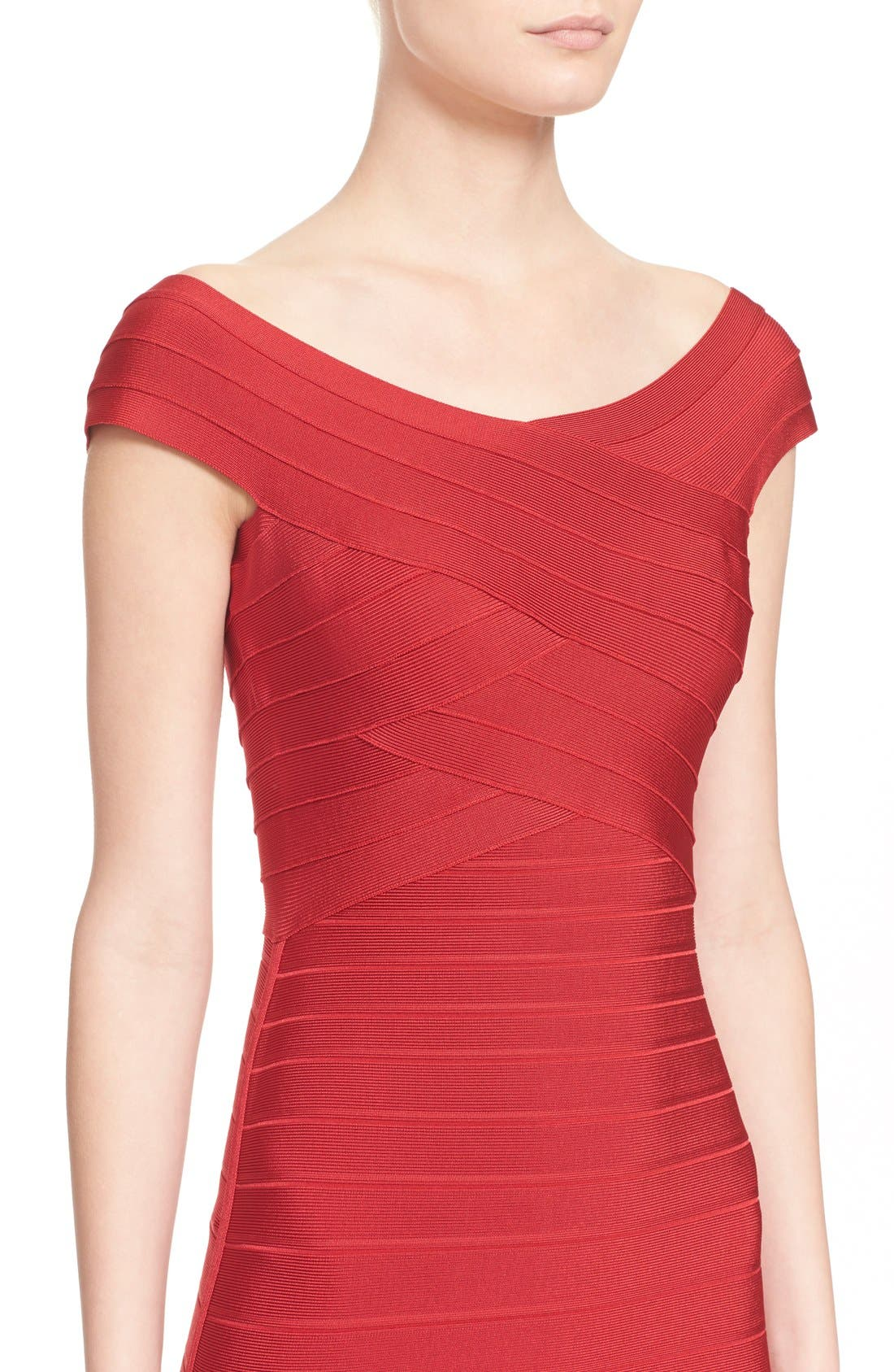 Alternate Image 4  - Herve Leger Cap Sleeve Bandage Pencil Dress