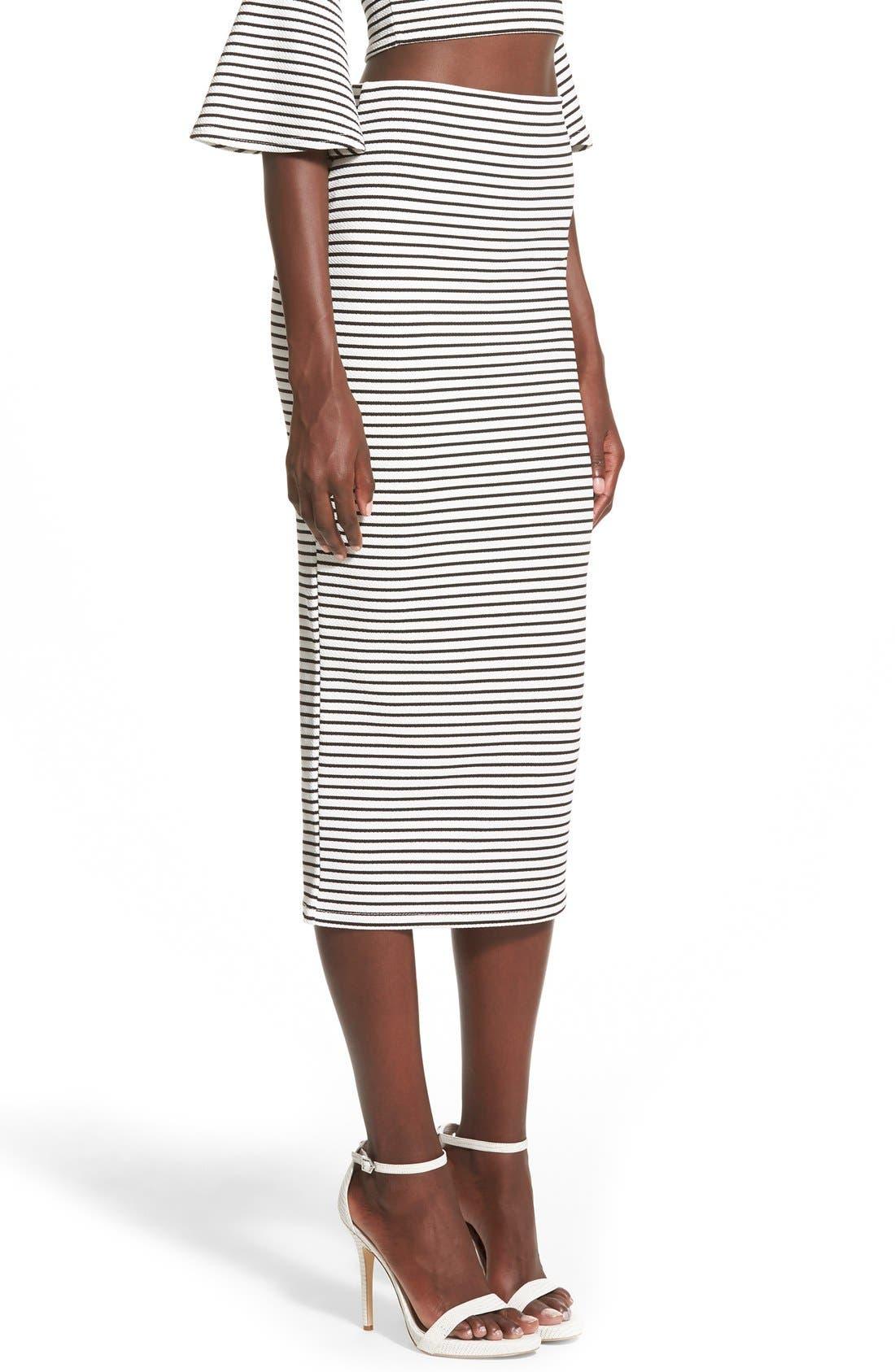 Alternate Image 4  - Missguided Stripe Longline Midi Skirt