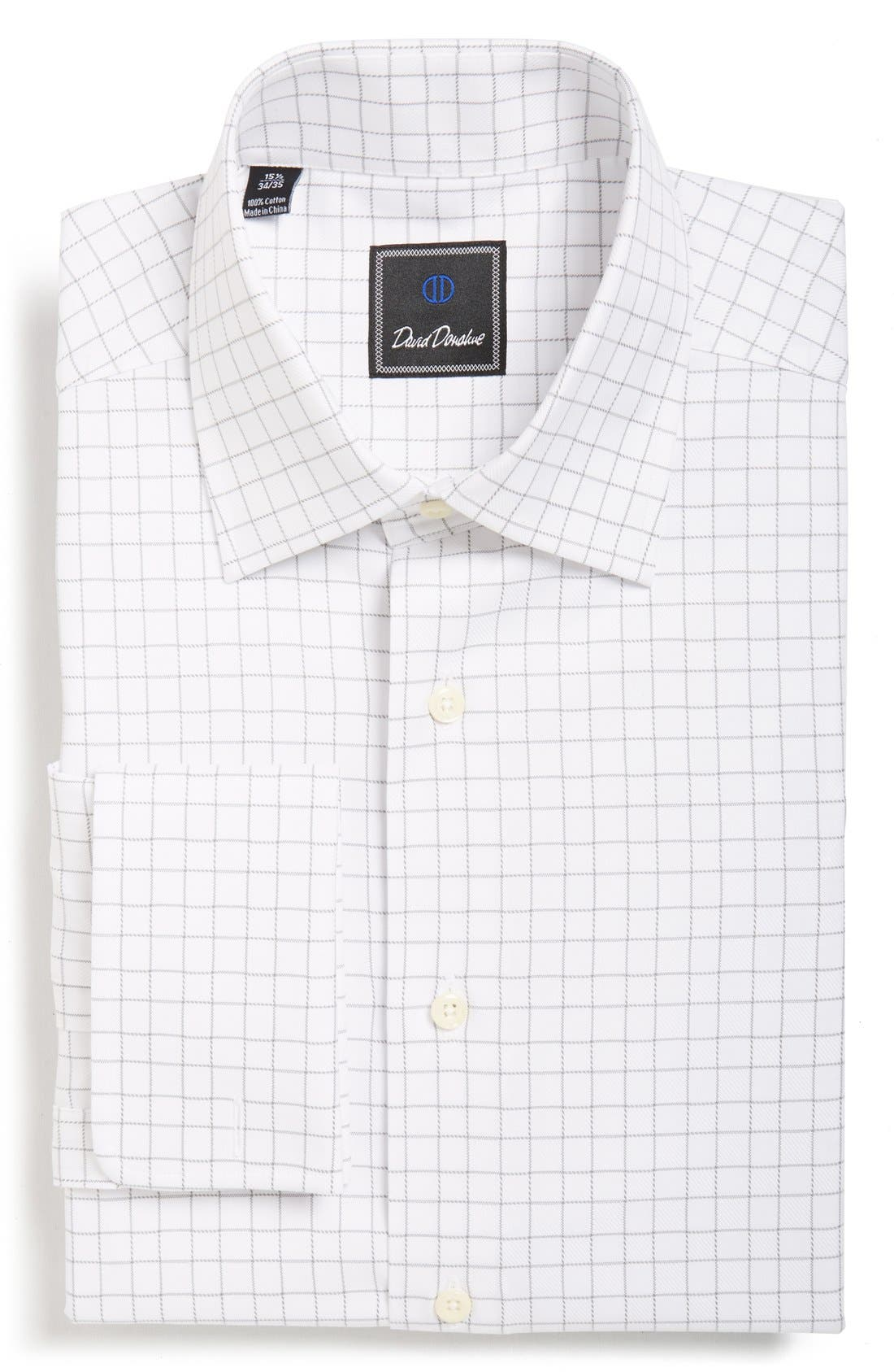 Main Image - David Donahue Regular Fit Windowpane PlaidDress Shirt