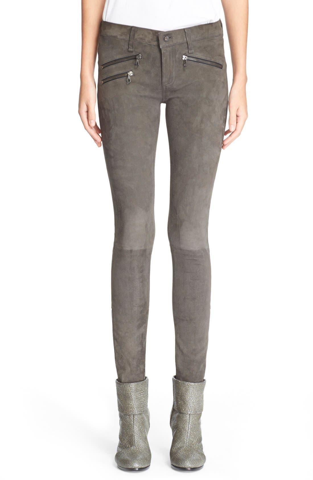 Main Image - rag & bone/JEAN 'RBW23' Suede Skinny Pants