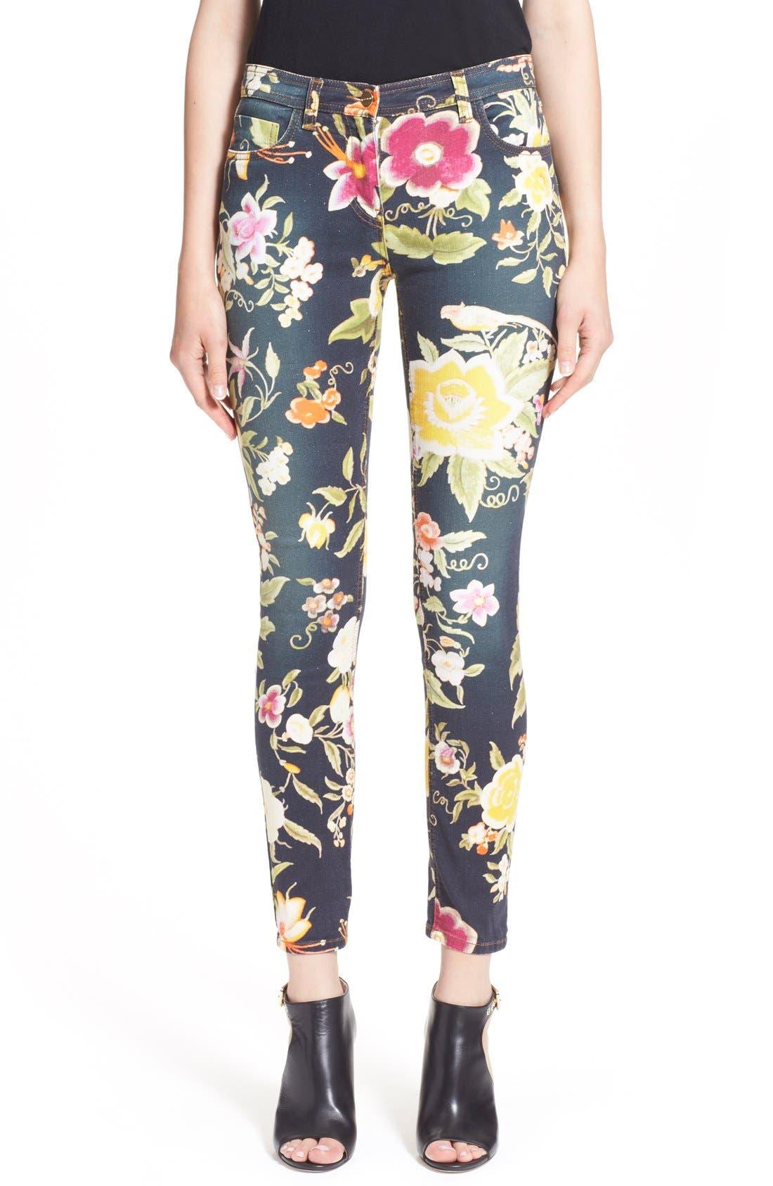 Alternate Image 1  - Etro Floral Print Skinny Fit Stretch Cotton Jeans