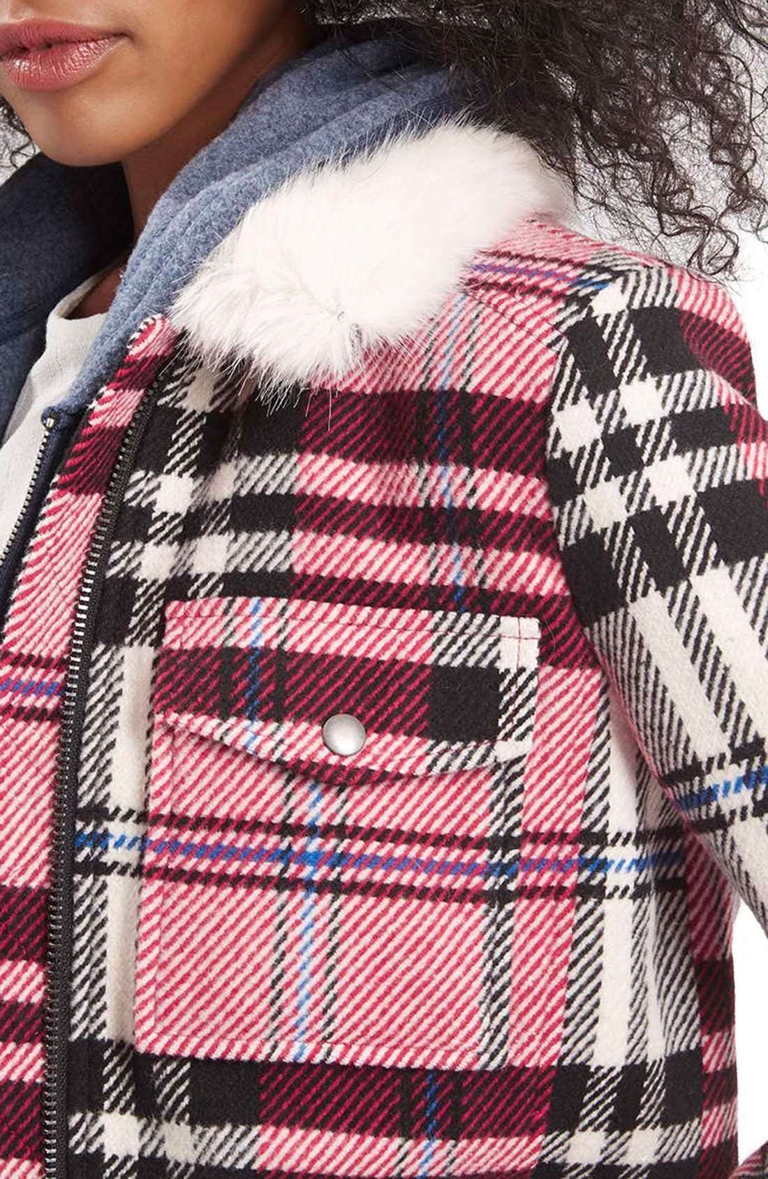 Alternate Image 5  - Topshop Check Bomber with Faux Fur Collar