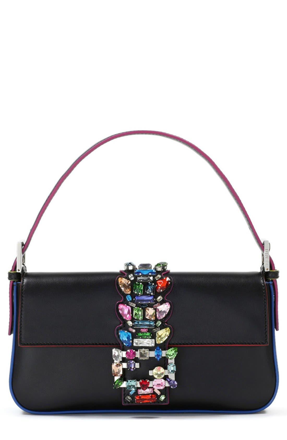 Main Image - Fendi Crystal Embellished Leather Baguette