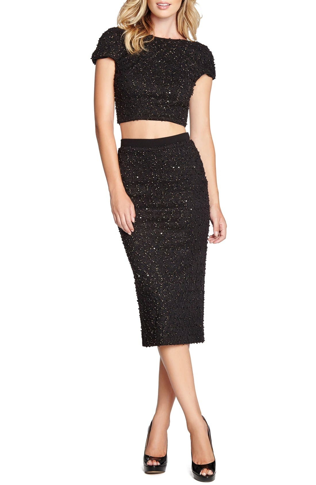 Main Image - Dress the Population 'Natalie' Sequin Knit Midi Pencil Skirt