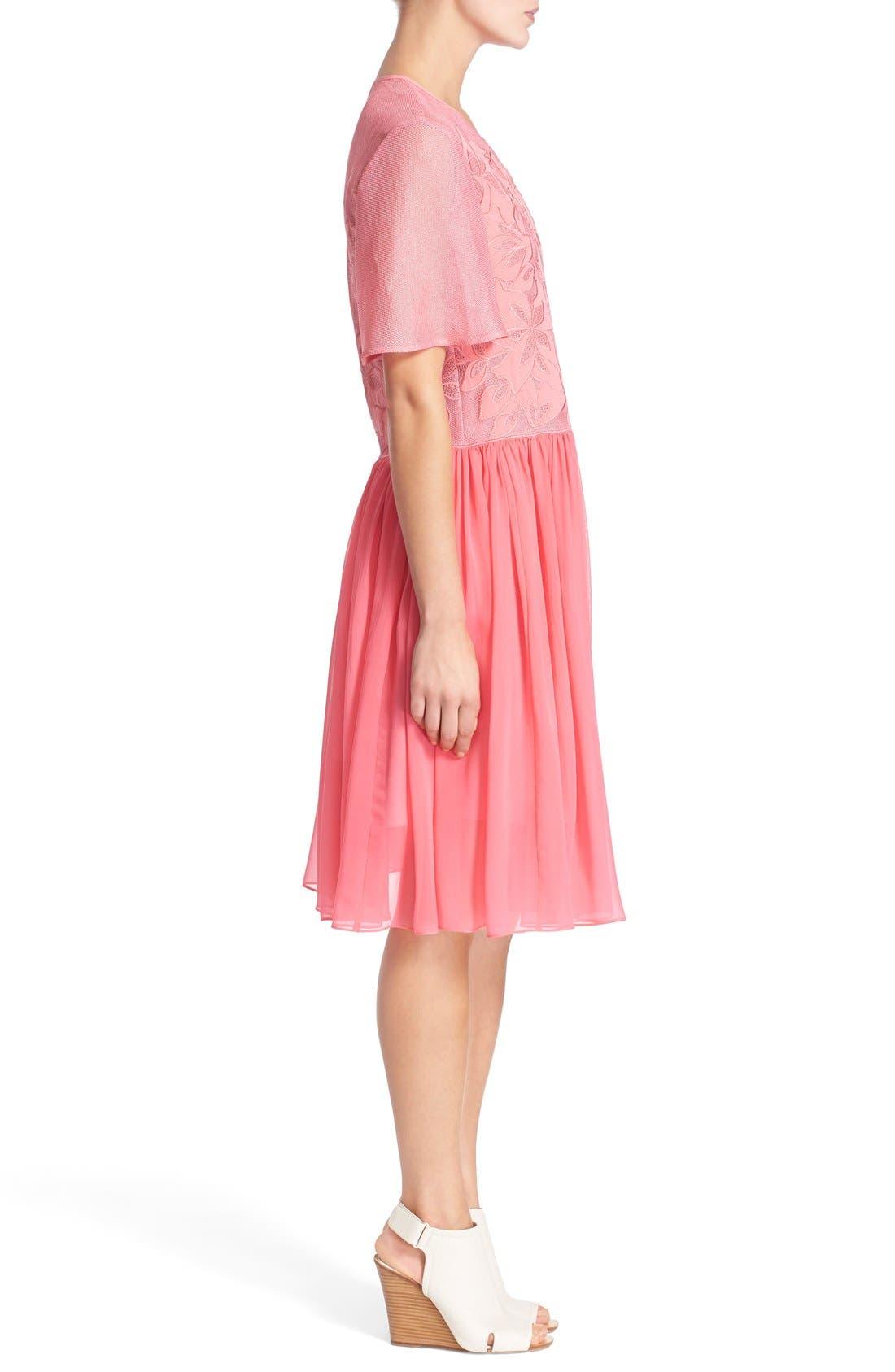 Alternate Image 3  - Rebecca Taylor Floral Appliqué Dress