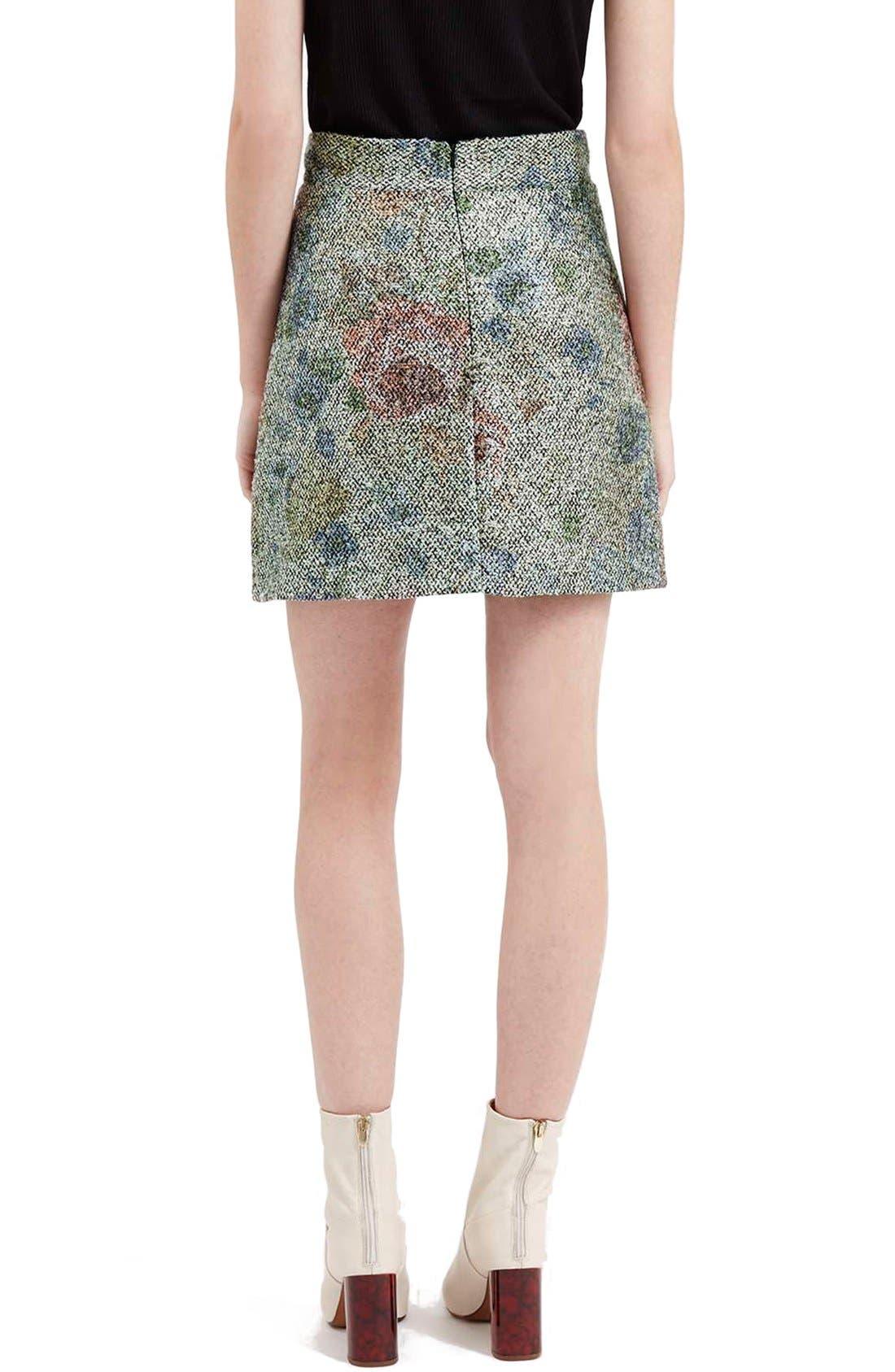 Alternate Image 3  - Topshop Metallic Floral Bouclé Skirt