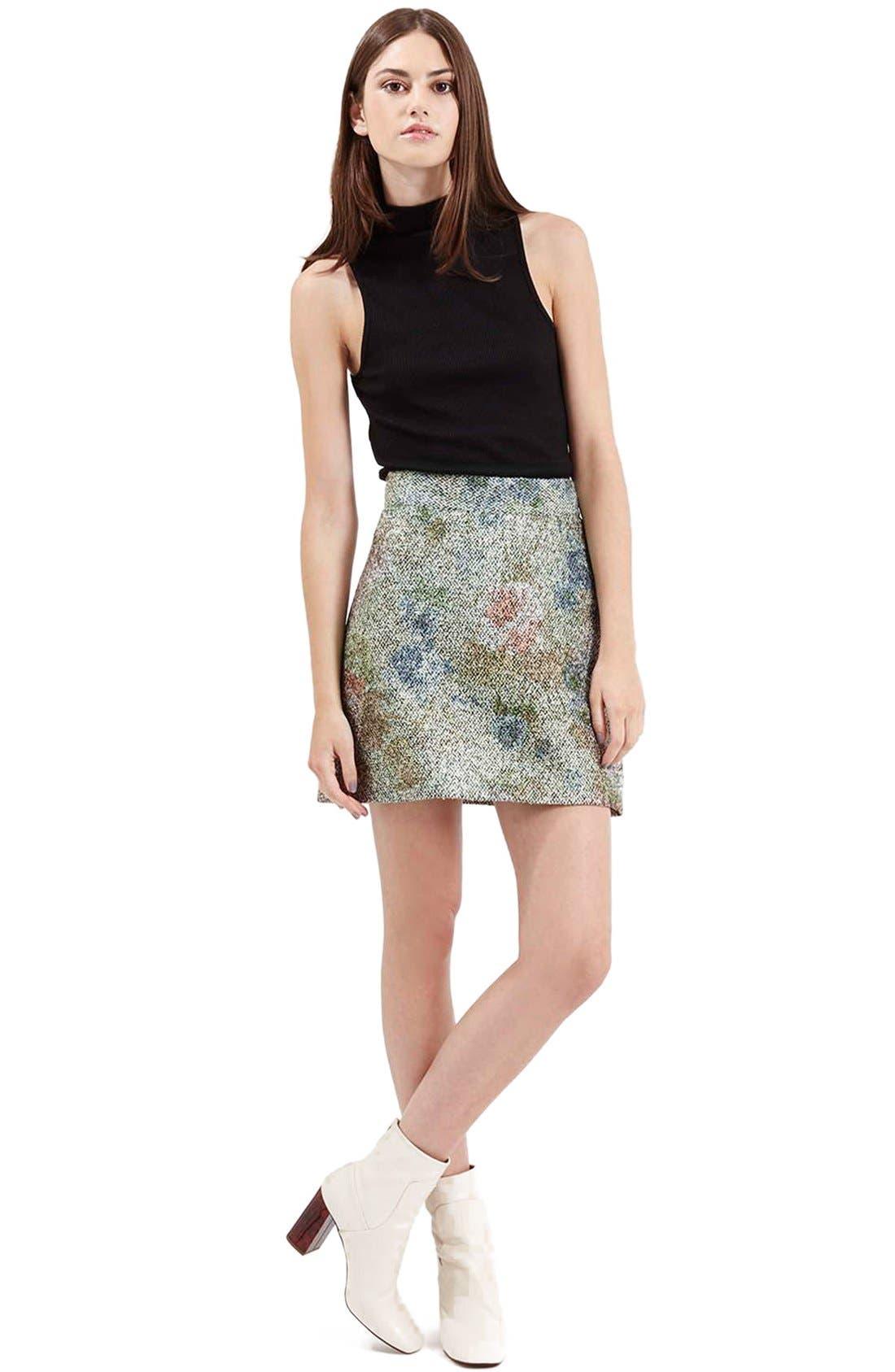 Alternate Image 2  - Topshop Metallic Floral Bouclé Skirt
