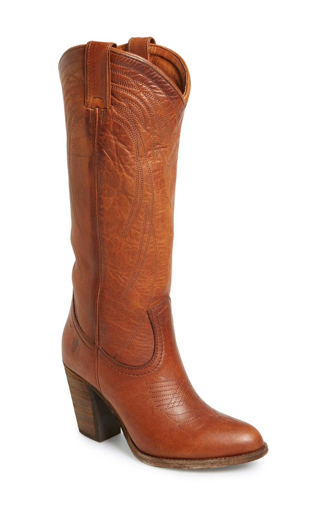 Alternate Image 1 Selected - Frye 'Ilana' Embroidered Leather Western Boot (Women)