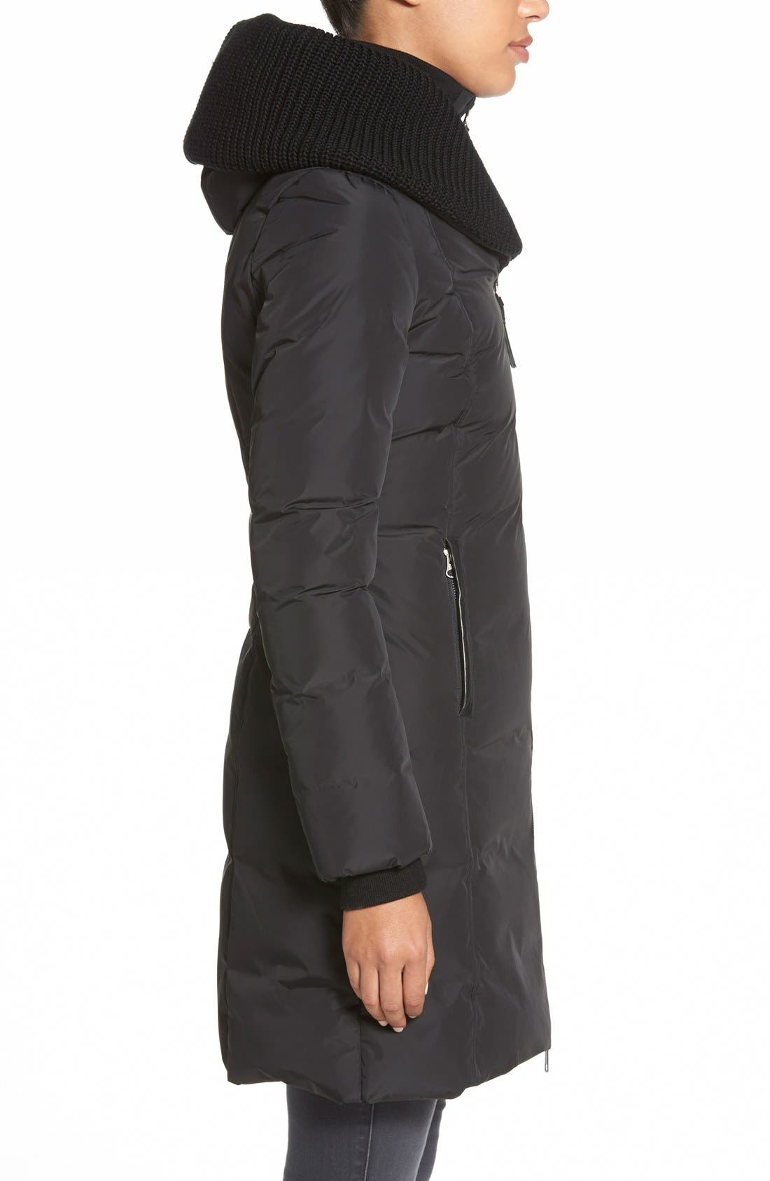 Alternate Image 3  - Mackage Knit Trim Hooded Asymmetrical Zip Long Down Coat