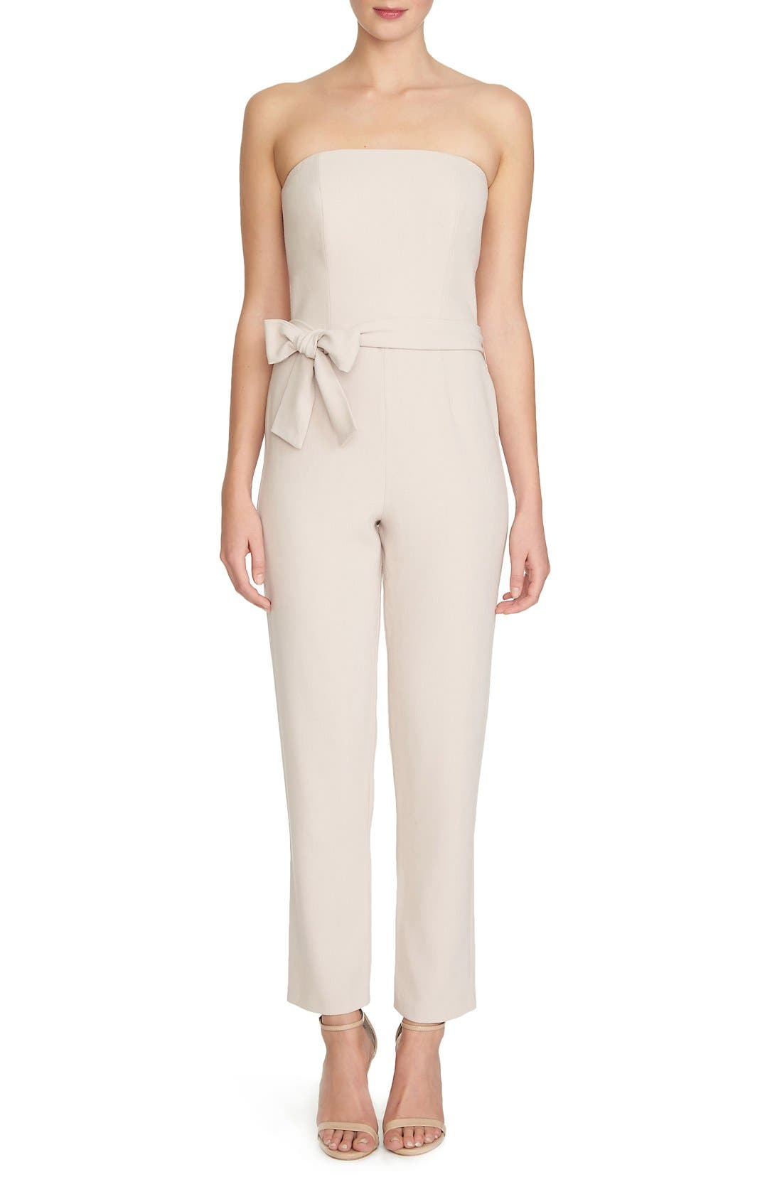 Alternate Image 1 Selected - 1.STATE Tie Waist Strapless Jumpsuit