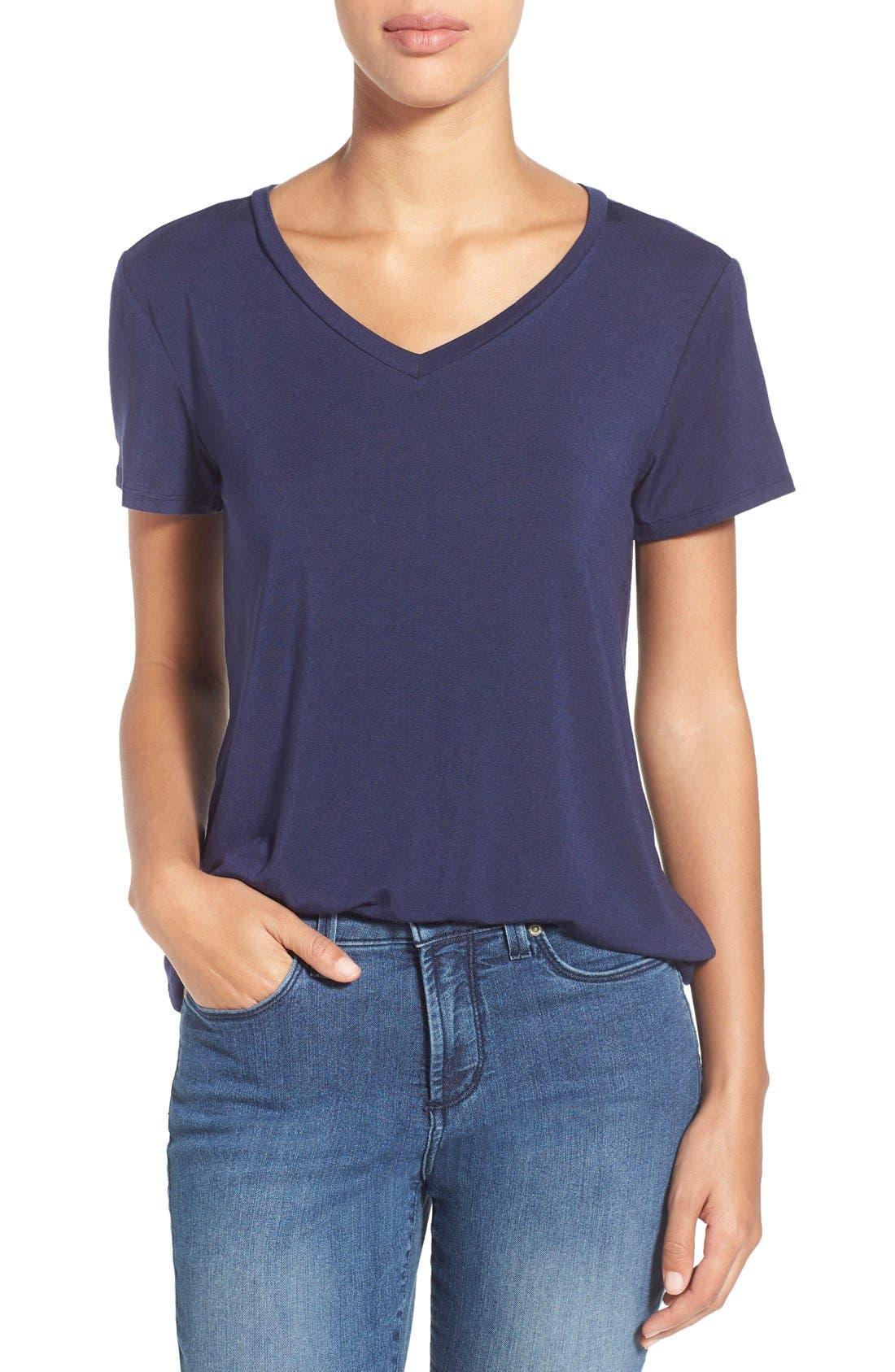 Alternate Image 1 Selected - Halogen® Modal Jersey V-Neck Tee