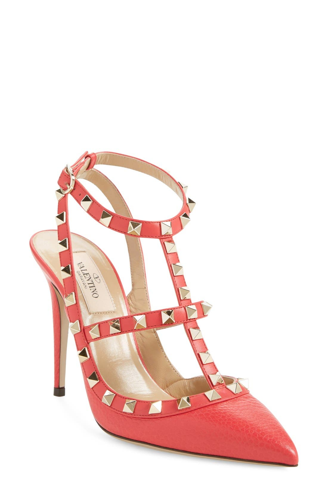 Main Image - Valentino 'Rockstud' T-Strap Pointy Toe Pump (Women)