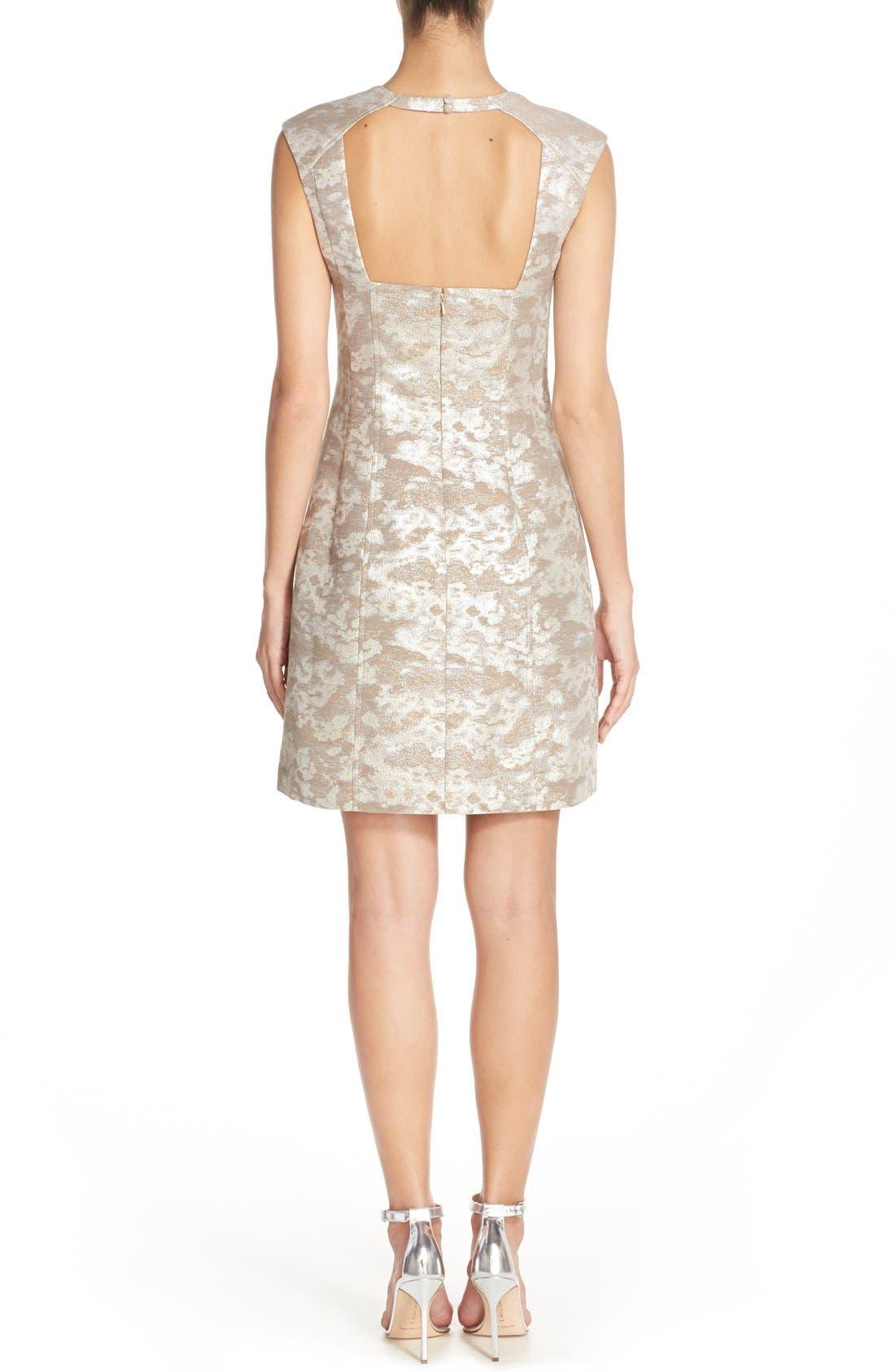 Alternate Image 2  - Aidan by Aidan Mattox Metallic Jacquard Sheath Dress