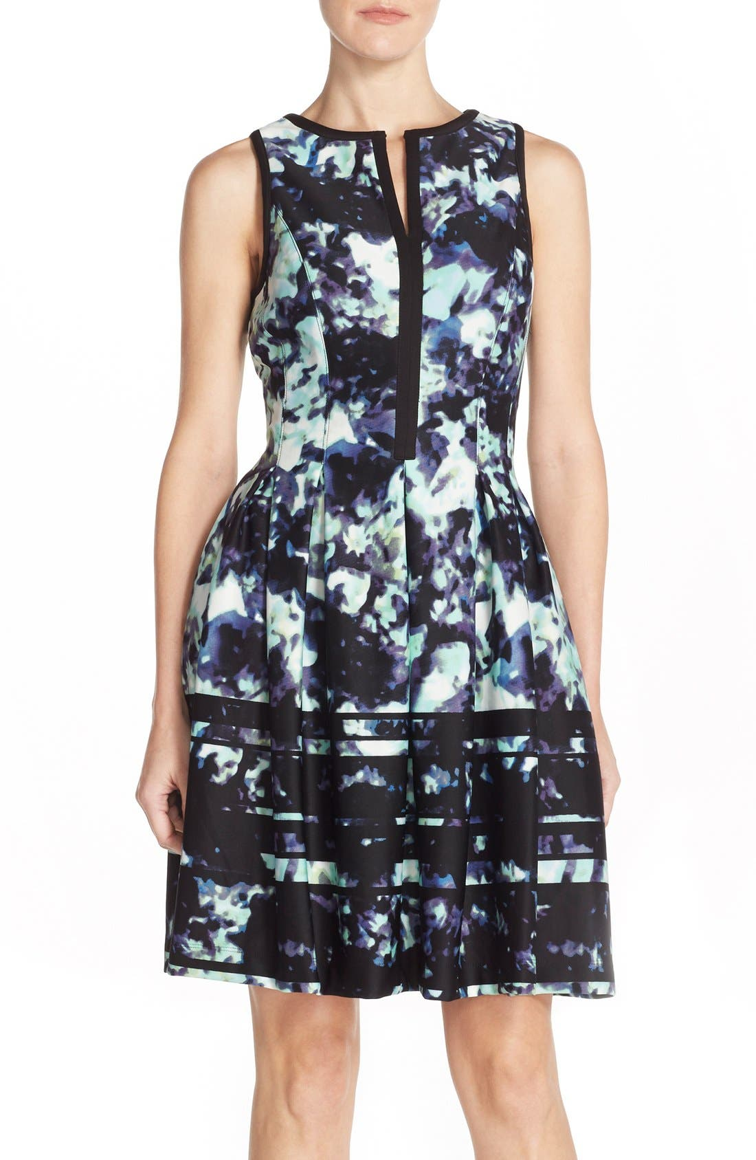 Main Image - Vince Camuto Print Scuba Fit & Flare Dress
