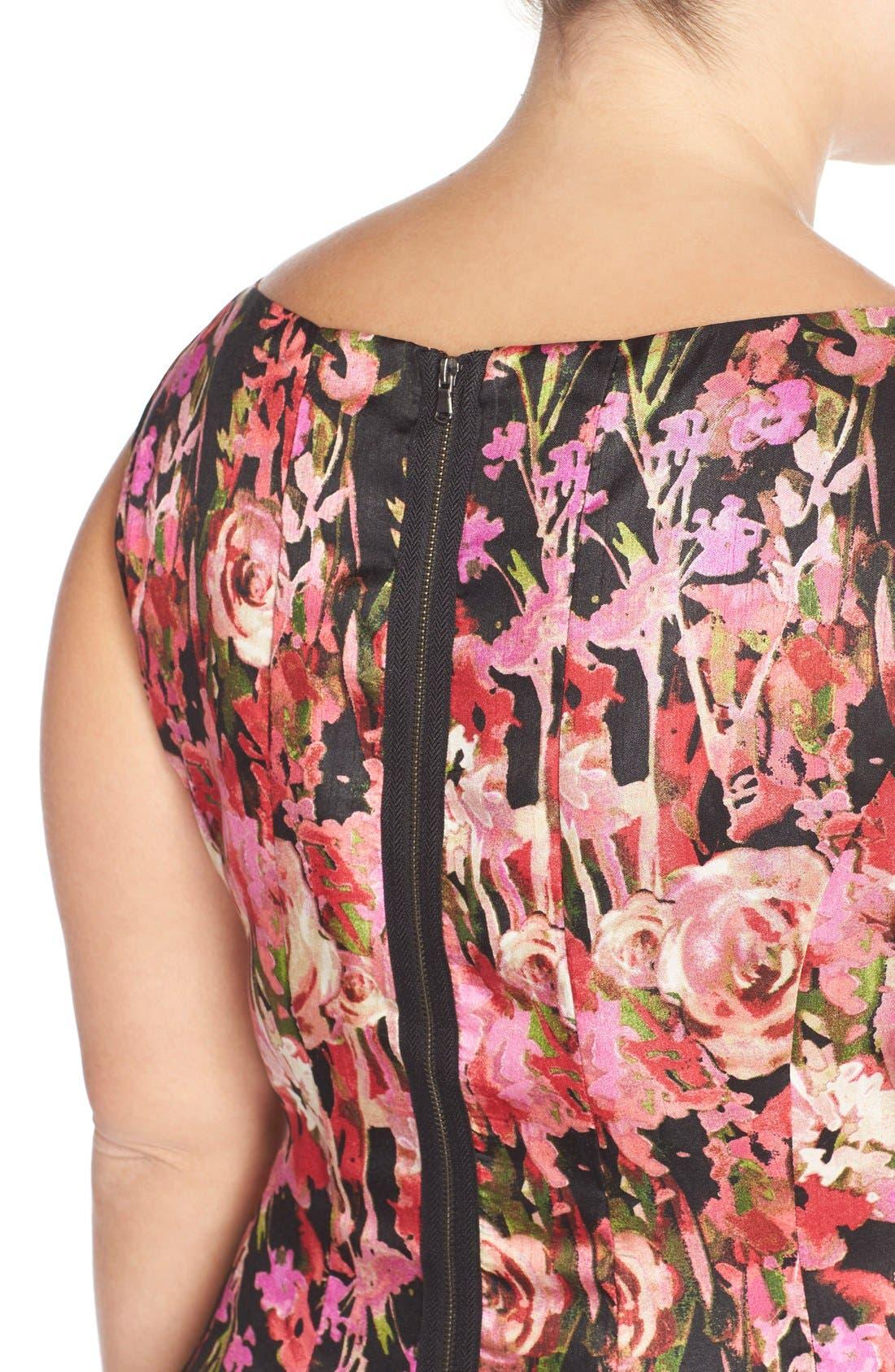 Alternate Image 6  - Gabby Skye Floral Shantung Fit & Flare Dress (Plus Size)
