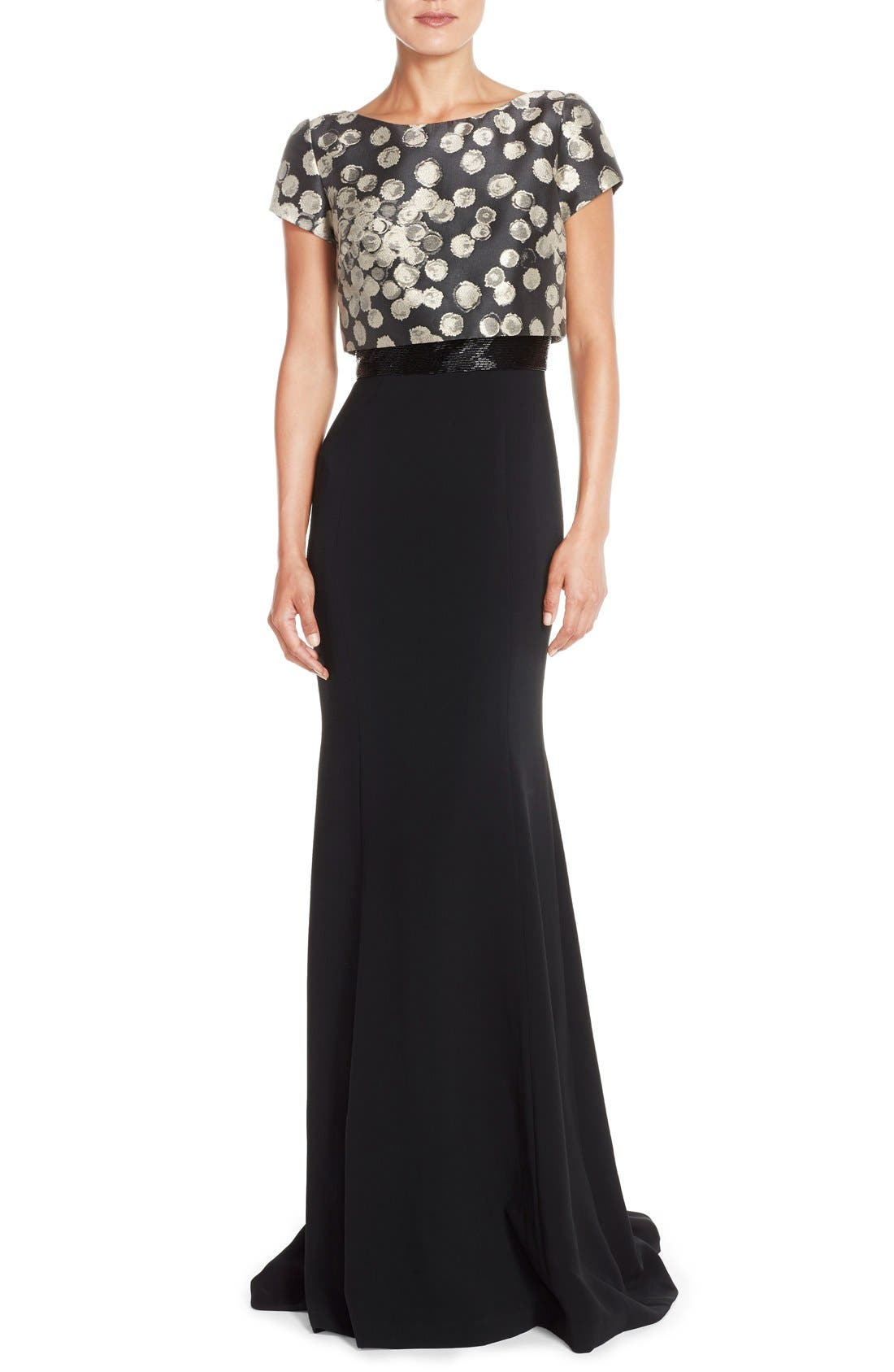 Alternate Image 1 Selected - Theia Embellished Jacquard Popover Gown