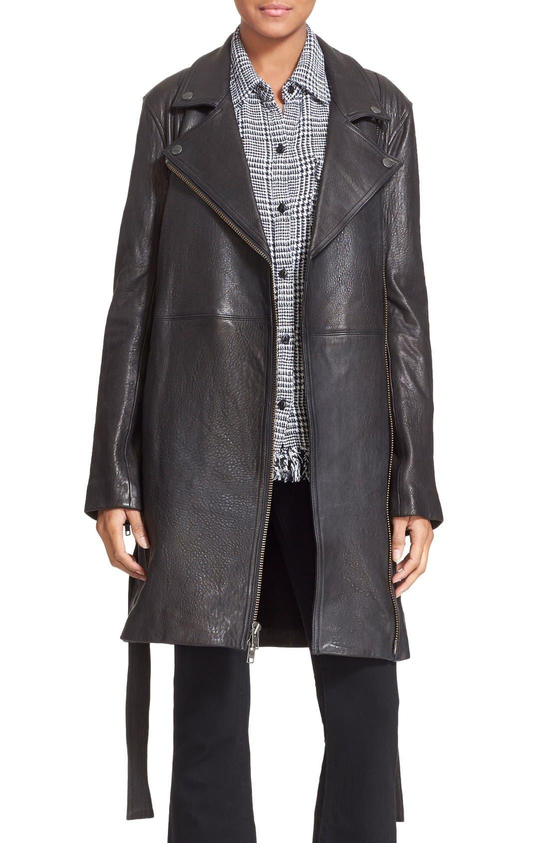 Alternate Image 1 Selected - Current/Elliott 'The Long Moto' Lambskin Leather Moto Trench Coat
