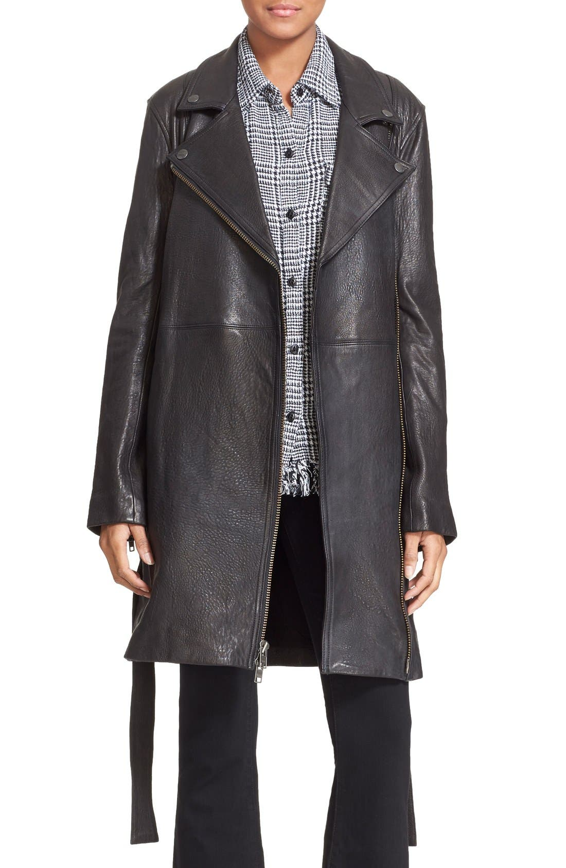 Main Image - Current/Elliott 'The Long Moto' Lambskin Leather Moto Trench Coat