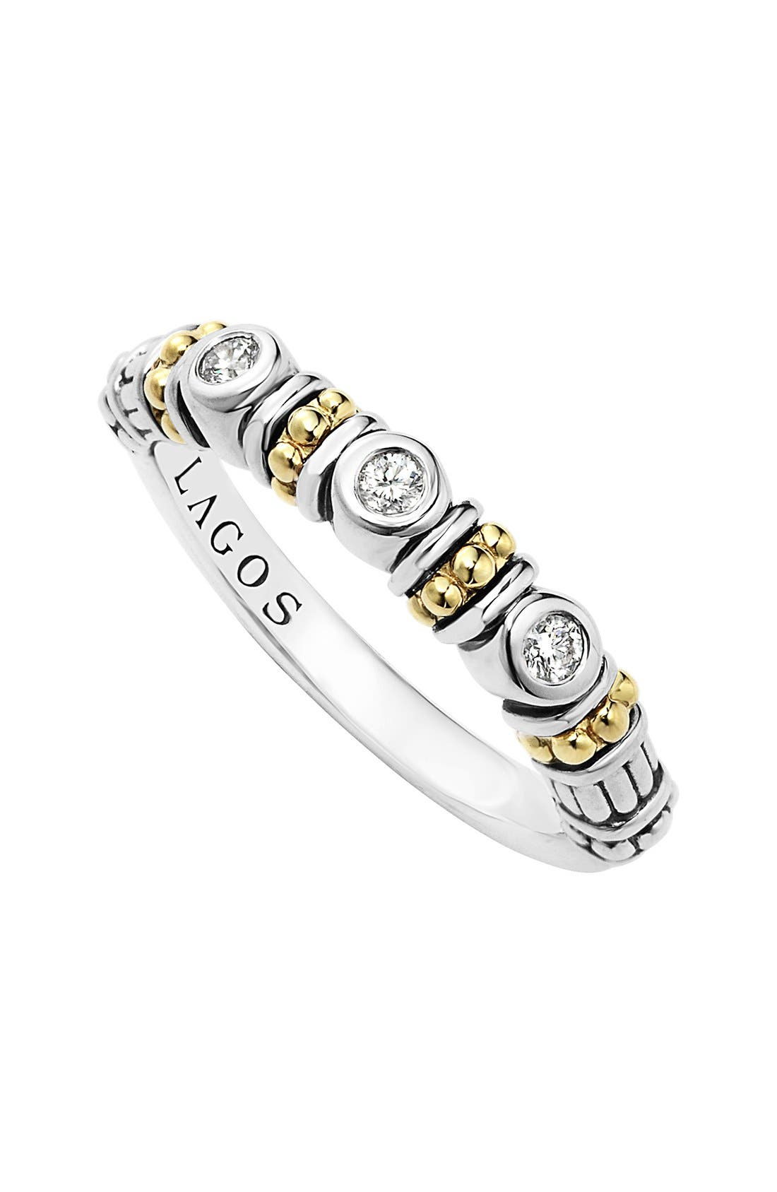 Alternate Image 1 Selected - LAGOS Three Diamond Stacking Ring