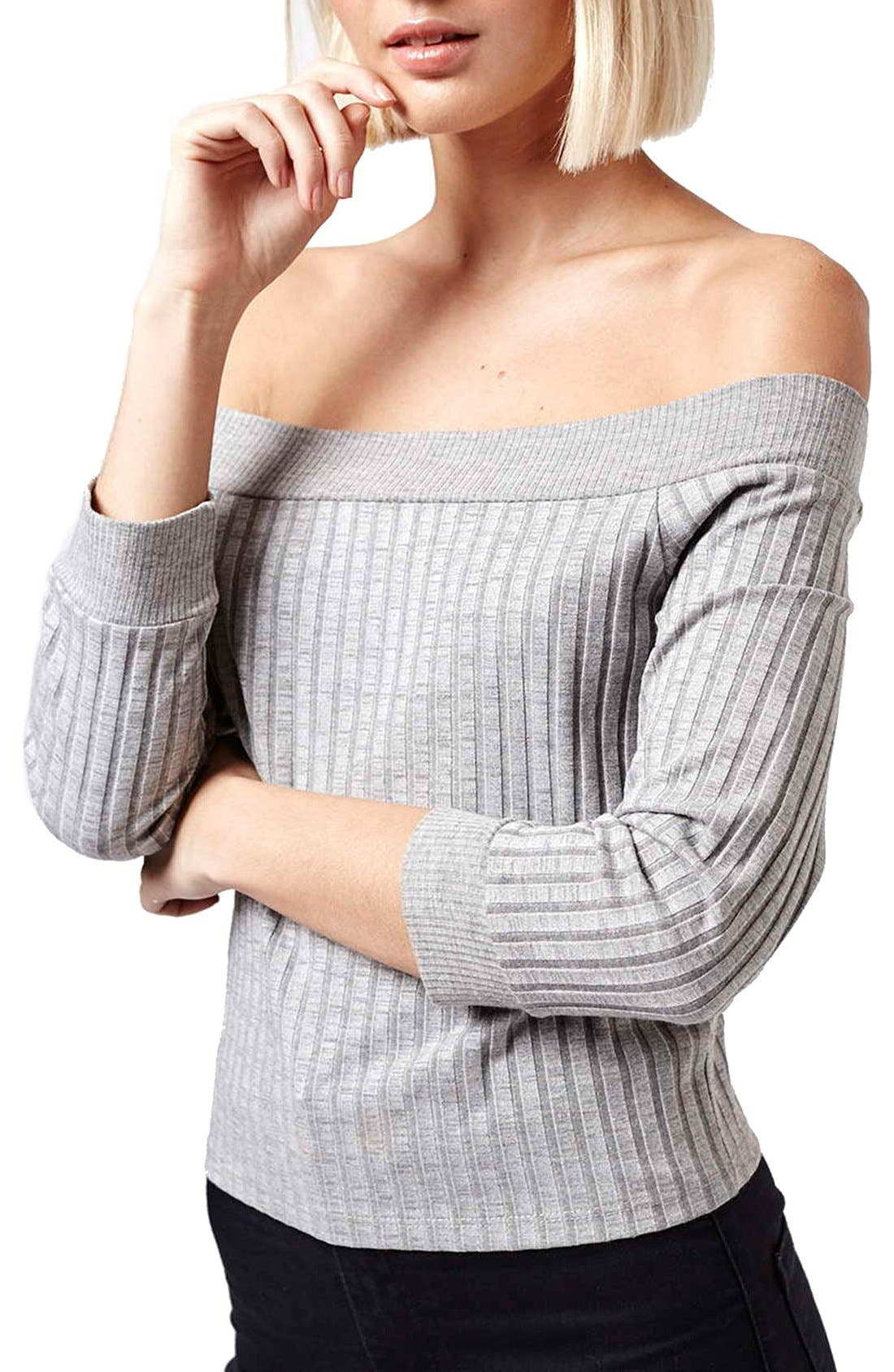 Alternate Image 1 Selected - Topshop 'Bardot' Off the Shoulder Top