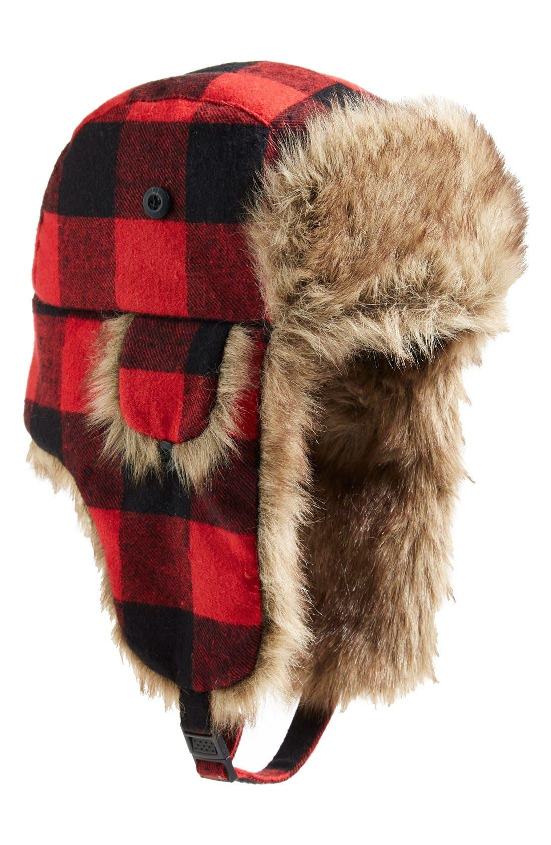 Alternate Image 1 Selected - PJ Salvage Plaid Trapper Hat with Faux Fur Trim