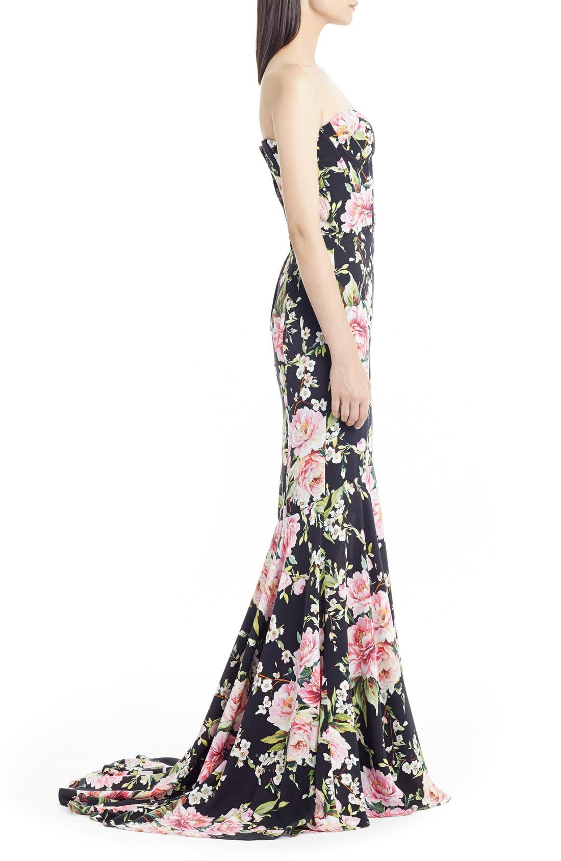 Alternate Image 4  - Dolce&Gabbana Floral Print Strapless Charmeuse Gown