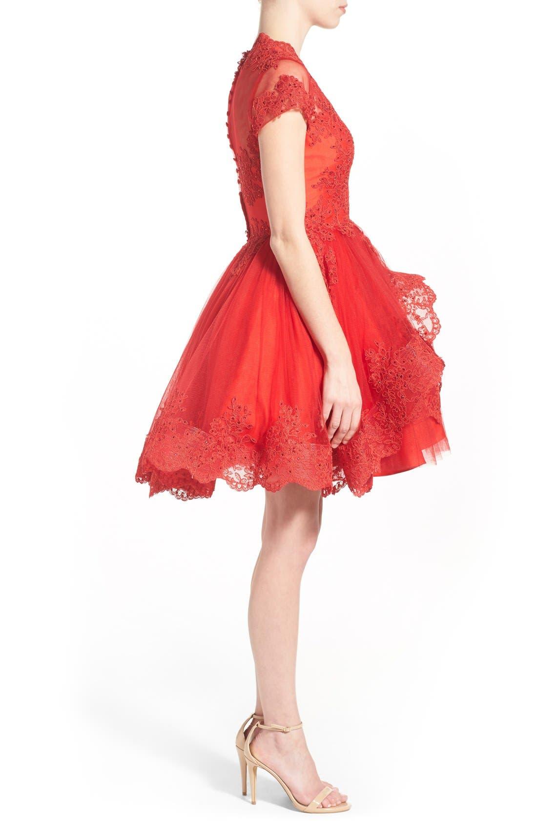 Alternate Image 3  - Mac Duggal Lace Skater Dress
