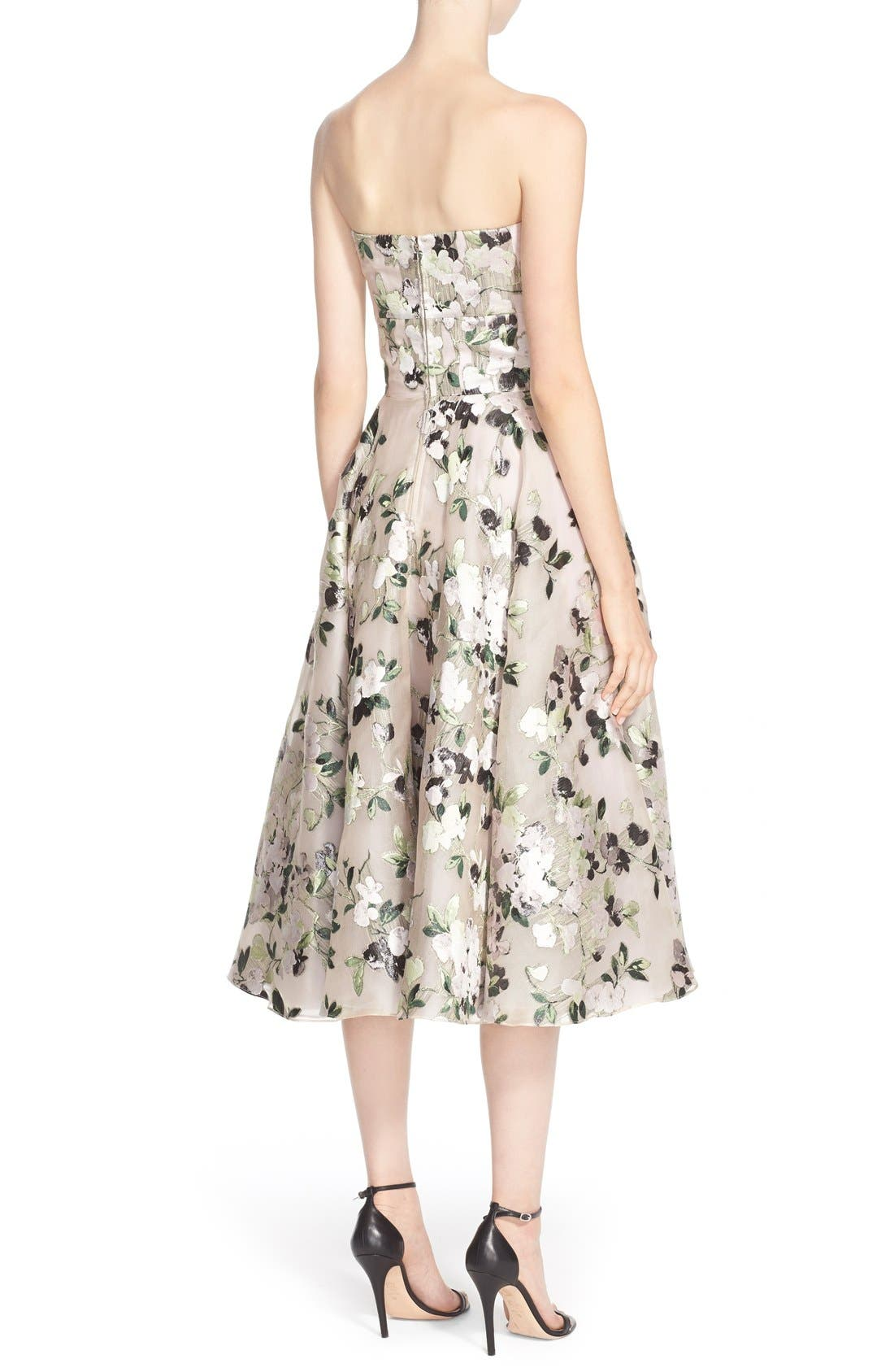 Alternate Image 2  - Alexander McQueen Floral Print Strapless Fit & Flare Dress