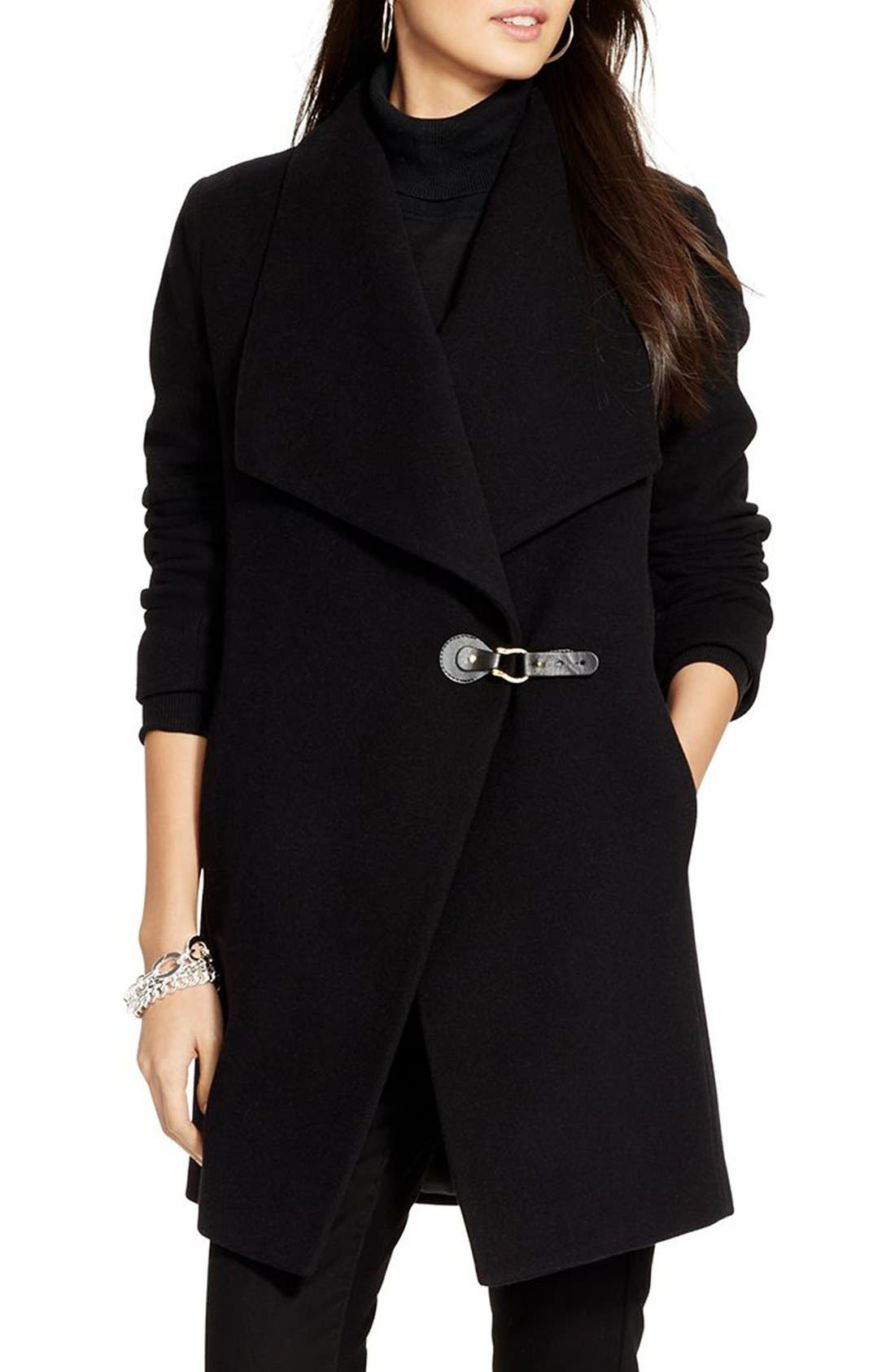 Main Image - Lauren Ralph Lauren Tab Front Asymmetrical Wool Blend Coat