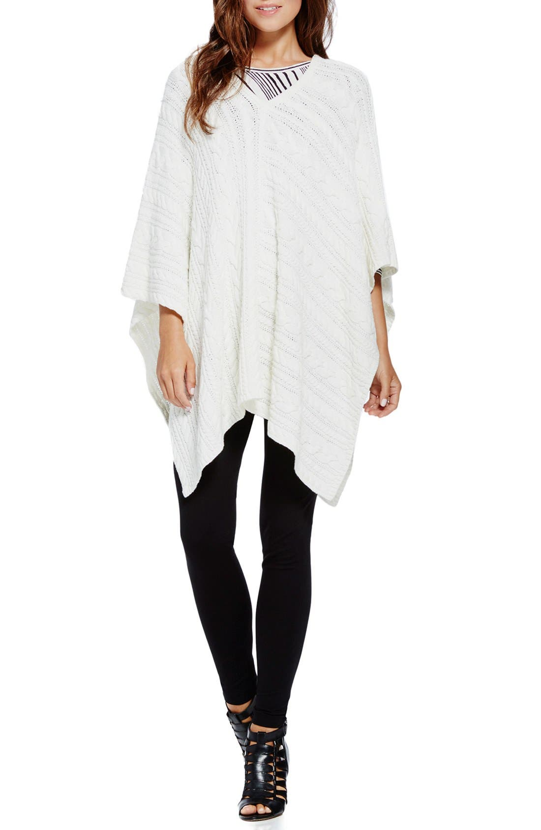 Alternate Image 3  - Two by Vince Camuto Cable Knit V-Neck Poncho