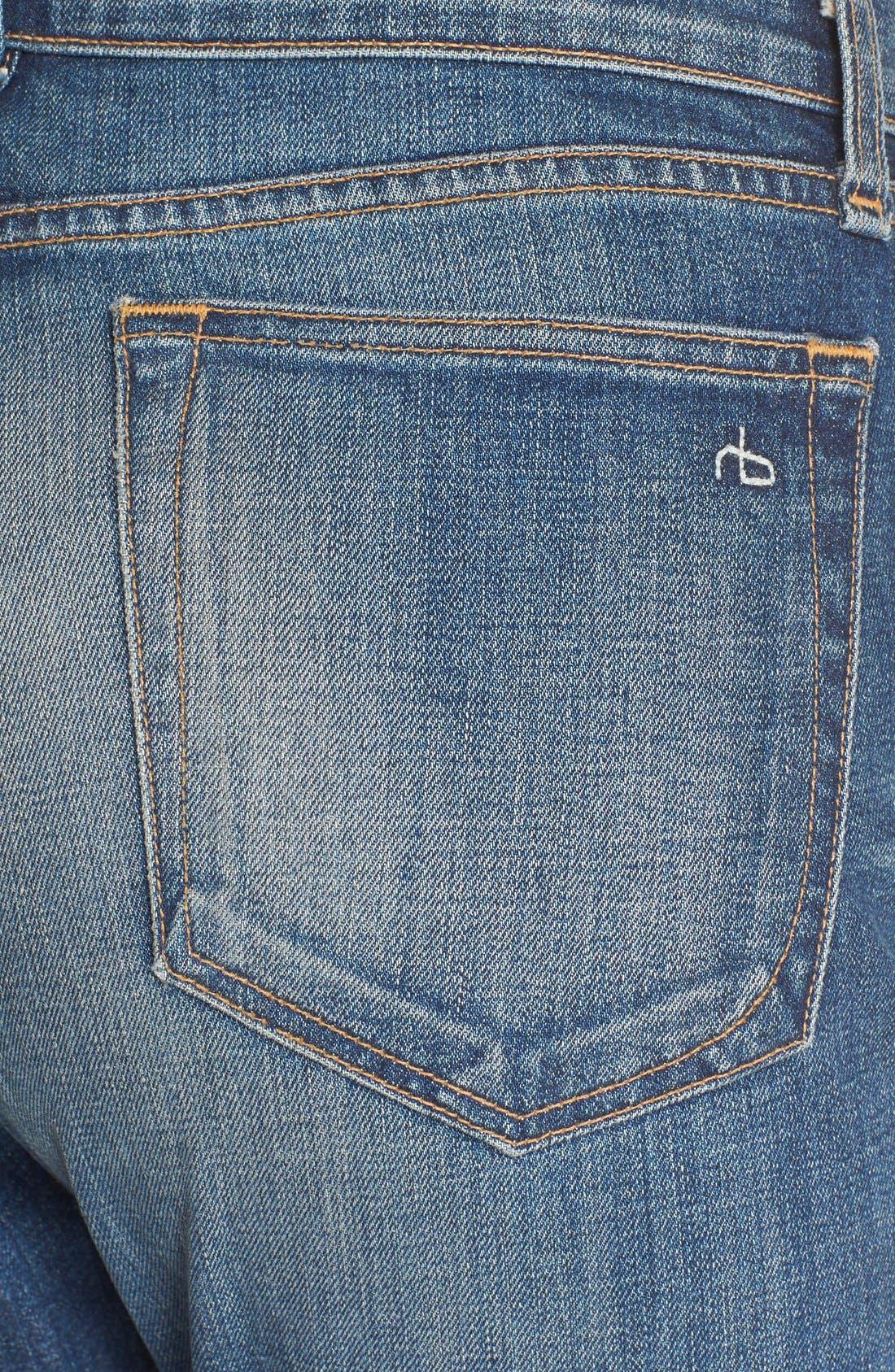Alternate Image 4  - rag & bone/JEAN 'Dre' High Rise Boyfriend Skinny Jeans (Exeter)