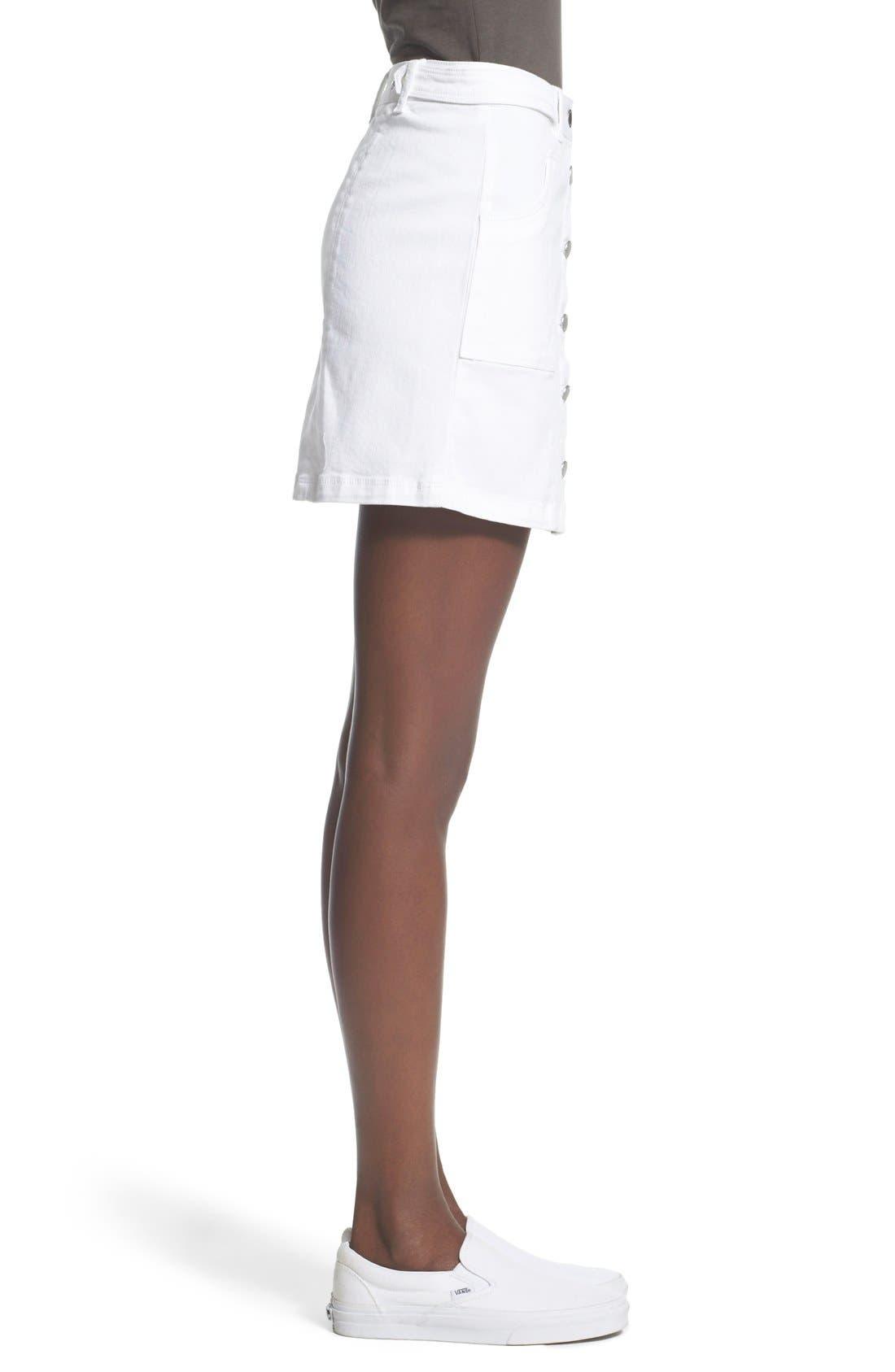 Alternate Image 3  - Jolt Button Front Denim Miniskirt