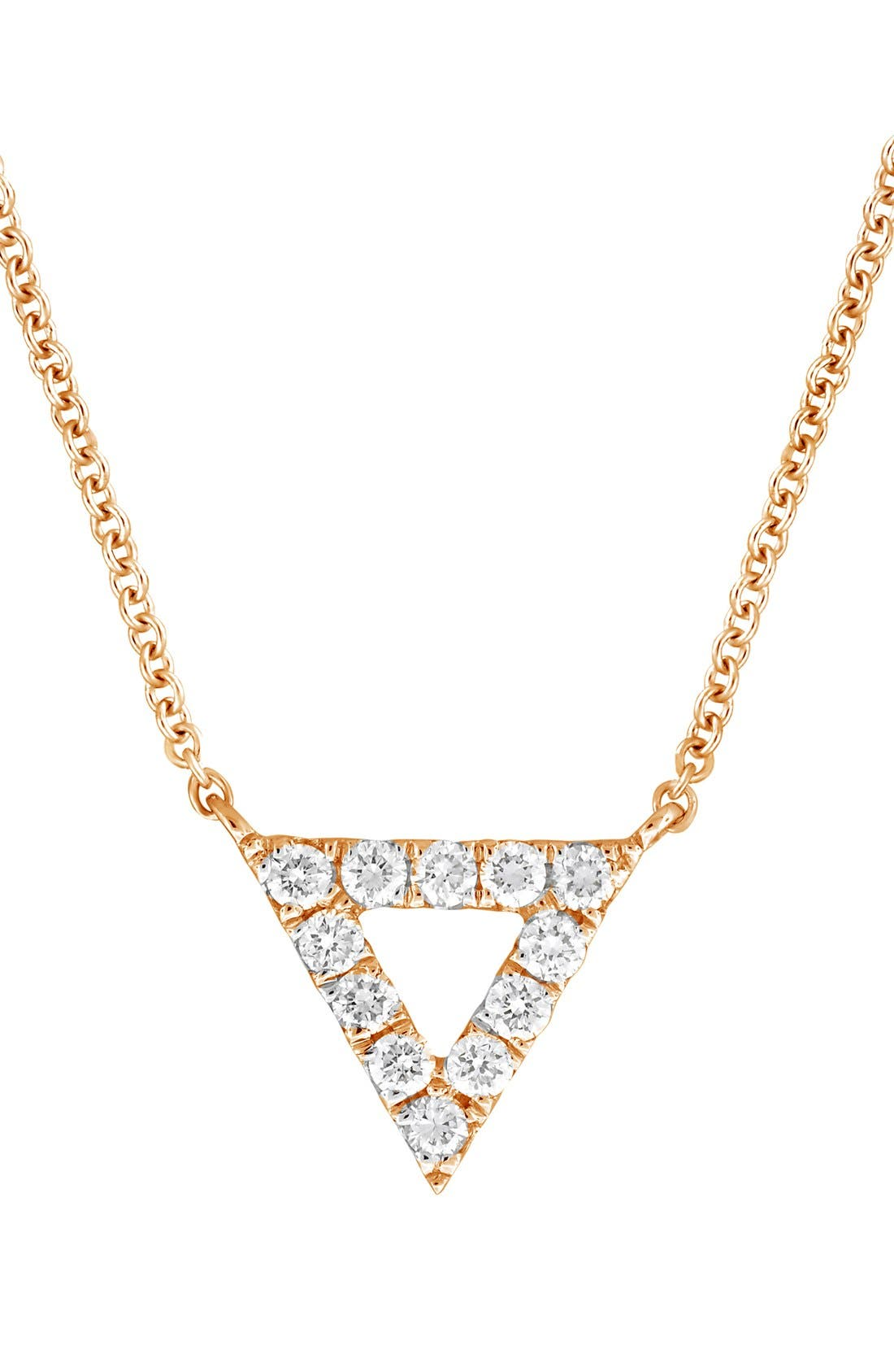 BONY LEVY Diamond Pavé Triangle Pendant Necklace