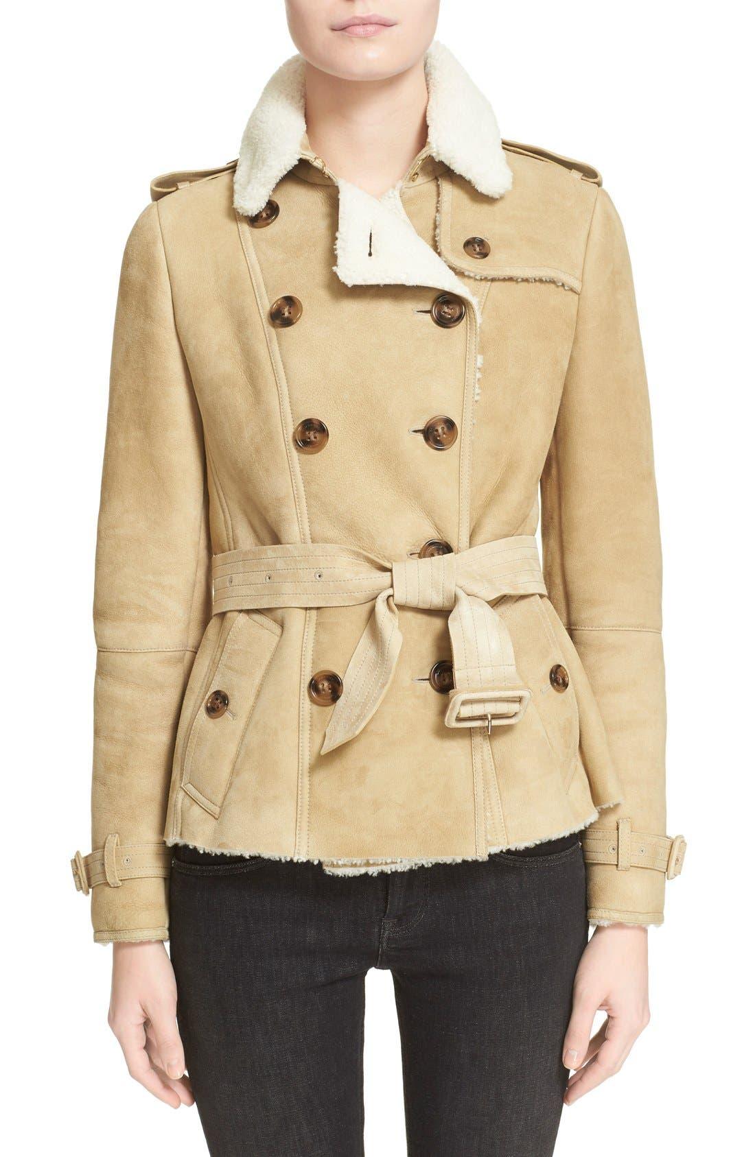 Alternate Image 1 Selected - Burberry London 'Sandringham' Short Genuine Shearling Trench Coat